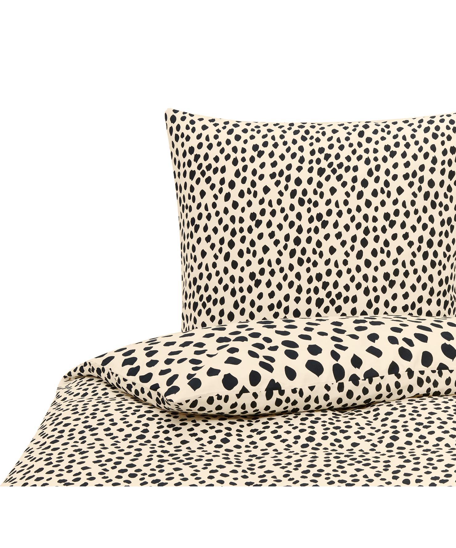 Baumwoll-Bettwäsche Go Wild mit Leoparden-Muster, 100% Baumwolle Bettwäsche aus Baumwolle fühlt sich auf der Haut angenehm weich an, nimmt Feuchtigkeit gut auf und eignet sich für Allergiker., Beige,Schwarz, 155 x 220 cm + 1 Kissen 80 x 80 cm