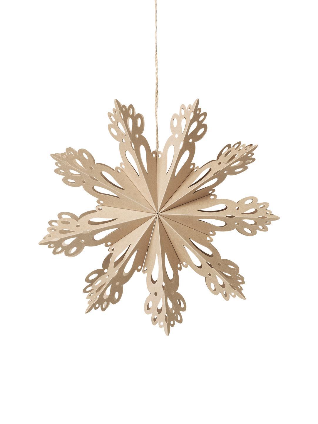 Ciondolo XL Snowflake, Carta, Beige, Ø 30 cm