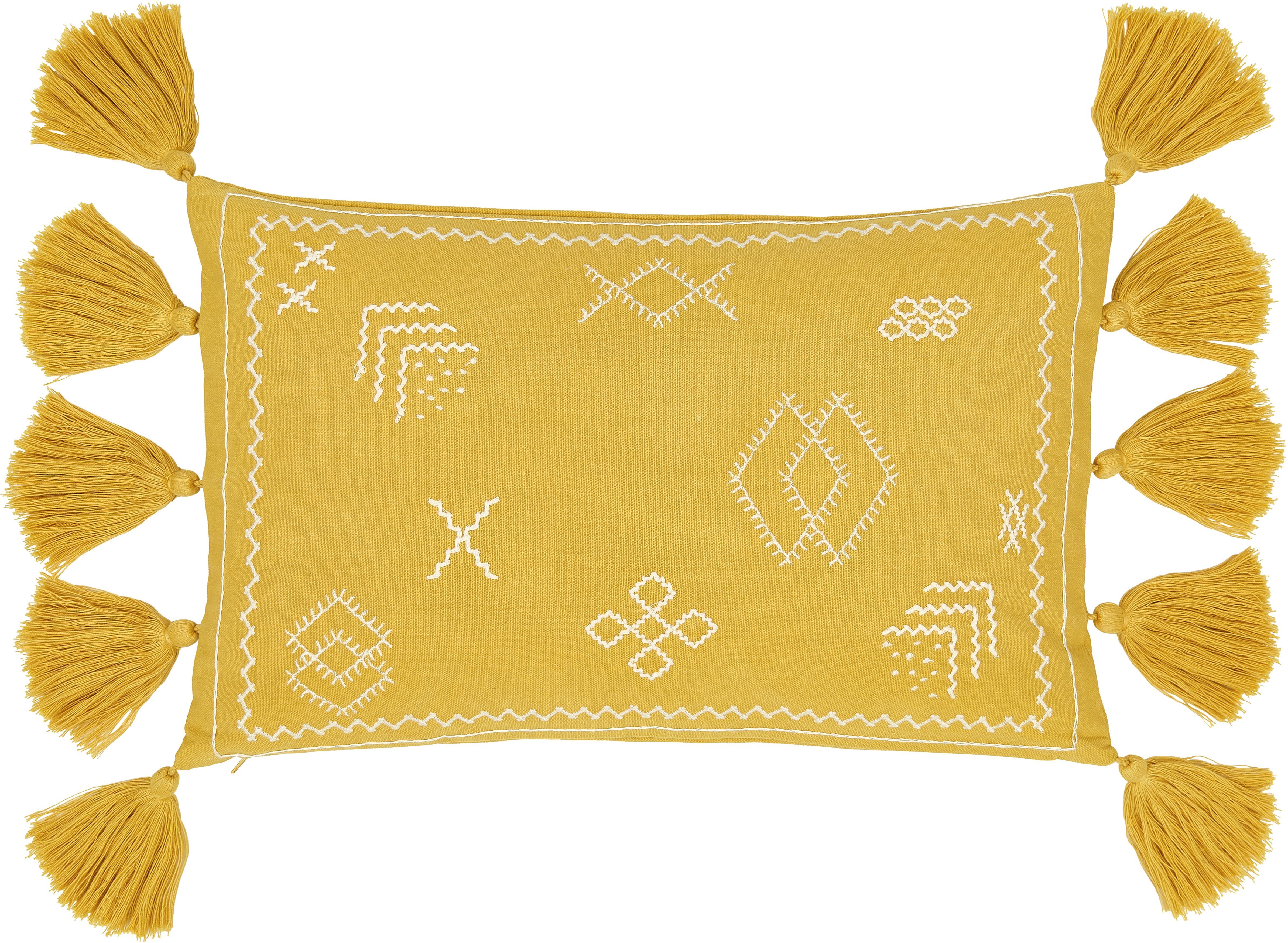 Funda de cojín bordada Huata, Algodón, Amarillo, beige, An 30 x L 50 cm