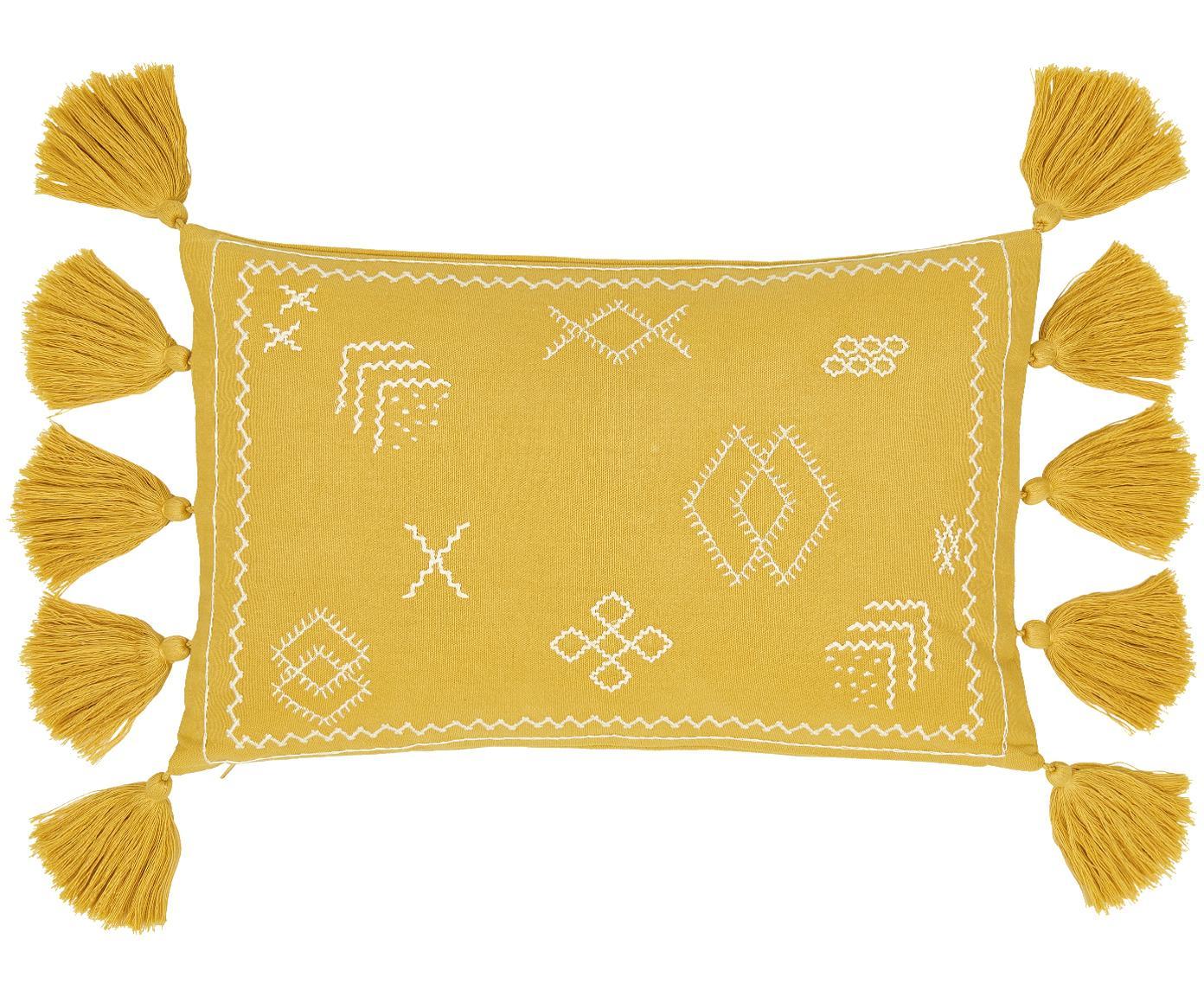 Geborduurde kussenhoes Huata, Katoen, Geel, beige, 30 x 50 cm