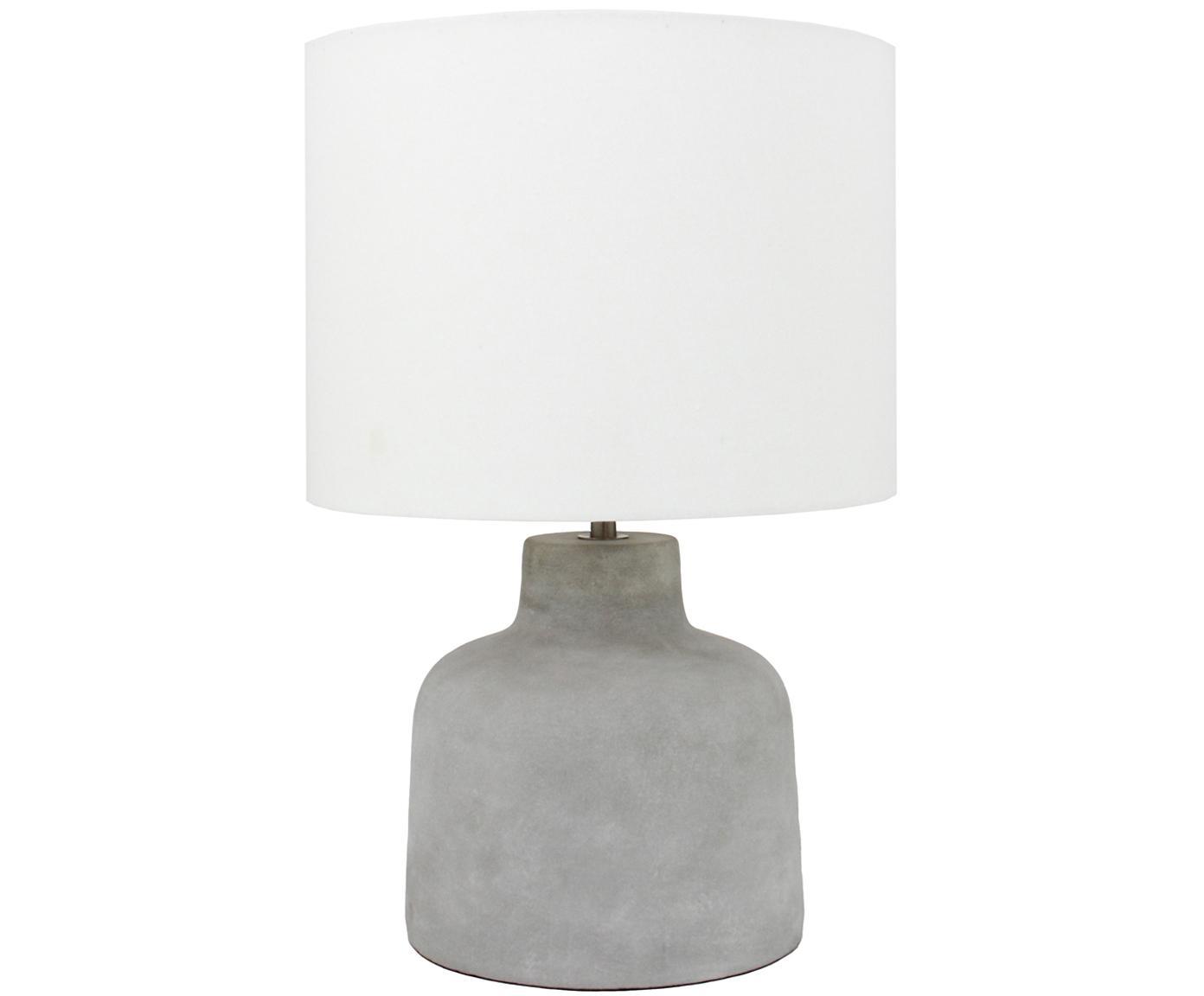Beton-Tischleuchte Ike, Lampenschirm: 100% Leinen, Lampenfuß: Beton, Beton, Weiß, Ø 30 x H 45 cm
