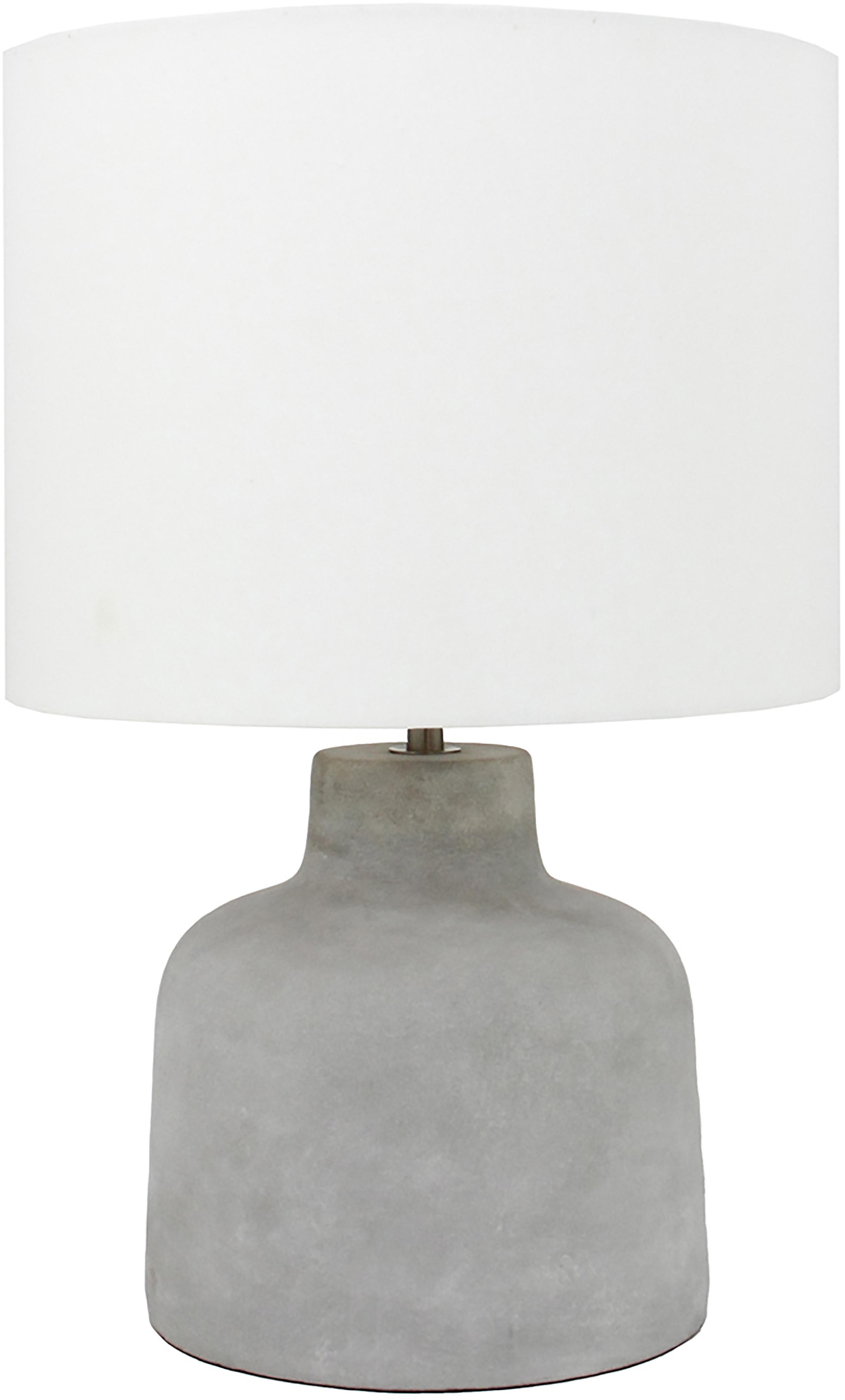 Tafellamp Ike, Lampenkap: 100% linnen, Lampvoet: beton, Betonkleurig, wit, Ø 30 x H 45 cm