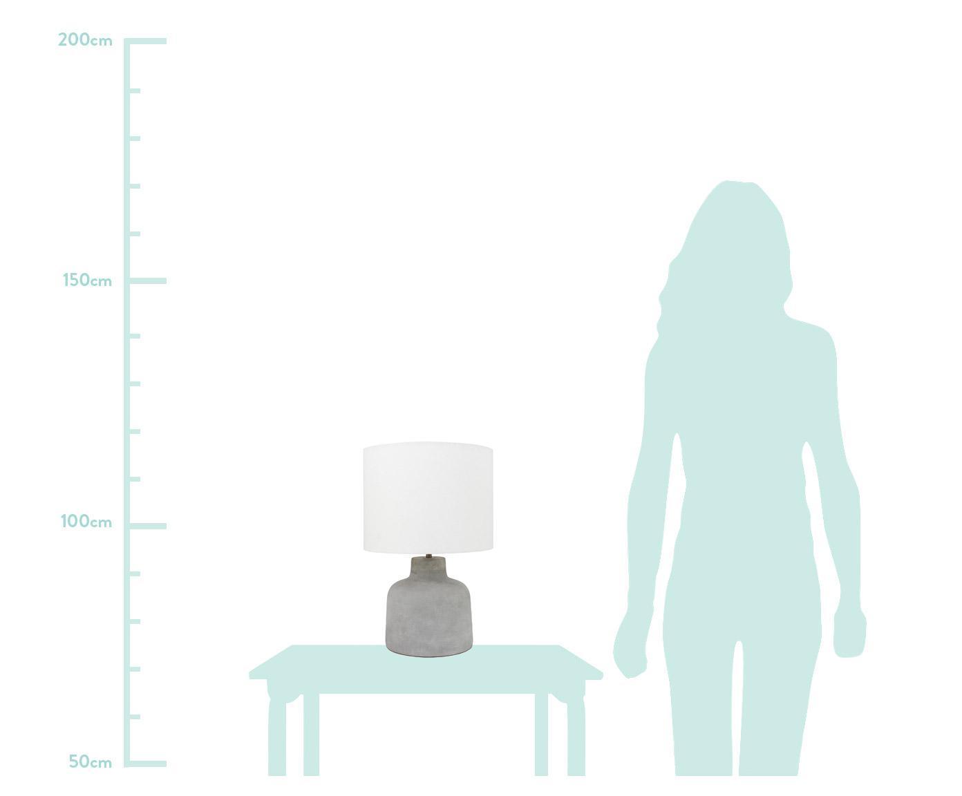 Tischlampe Ike mit Betonfuß, Lampenschirm: 100% Leinen, Lampenfuß: Beton, Beton, Weiß, Ø 30 x H 45 cm