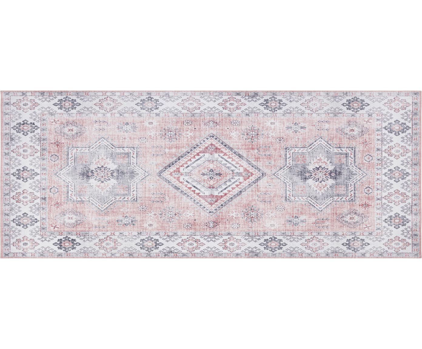 Loper Gratia in vintage stijl, Oudroze, grijs, 80 x 200 cm