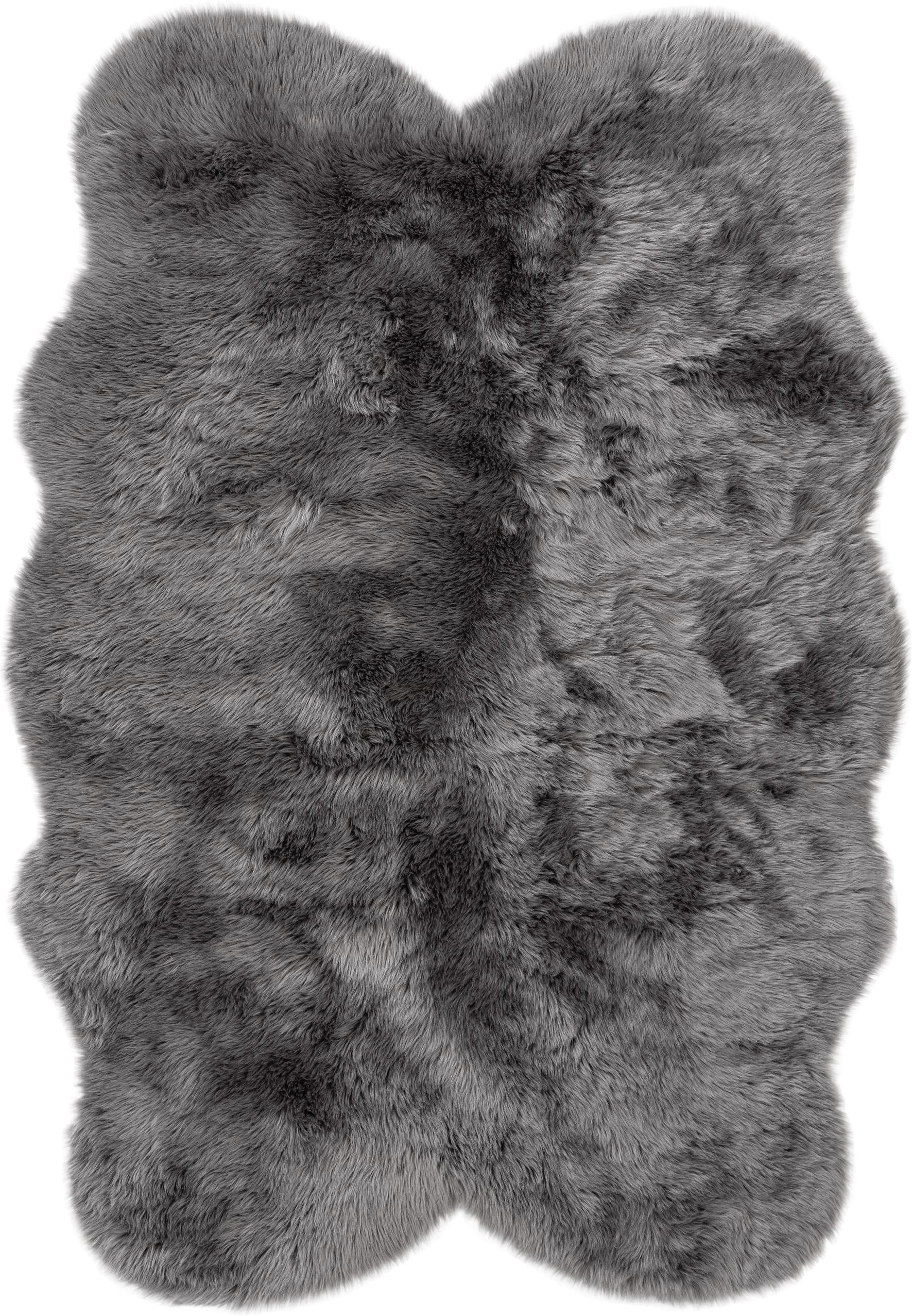 Alfombra piel sintética Elmo, Parte superior: 50%acrílico, 50%poliést, Reverso: poliéster, Gris, An 140 x L 200 cm (Tamaño S)