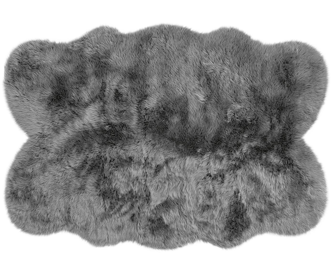 Imitatie schapenvacht Elmo, glad, Bovenzijde: 50% acryl, 50% polyester, Onderzijde: polyester, Grijs, 140 x 200 cm