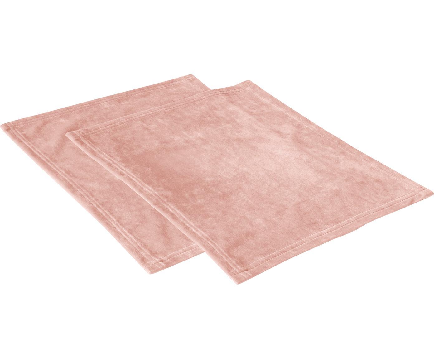 Fluwelen placemats Simone, 2 stuks, 100% polyester fluweel, Roze, 35 x 45 cm