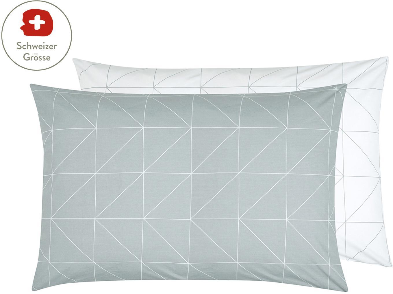 Baumwoll-Wendekissenbezug Marla mit grafischem Muster, Webart: Renforcé Fadendichte 144 , Grau, Weiss, 65 x 100 cm