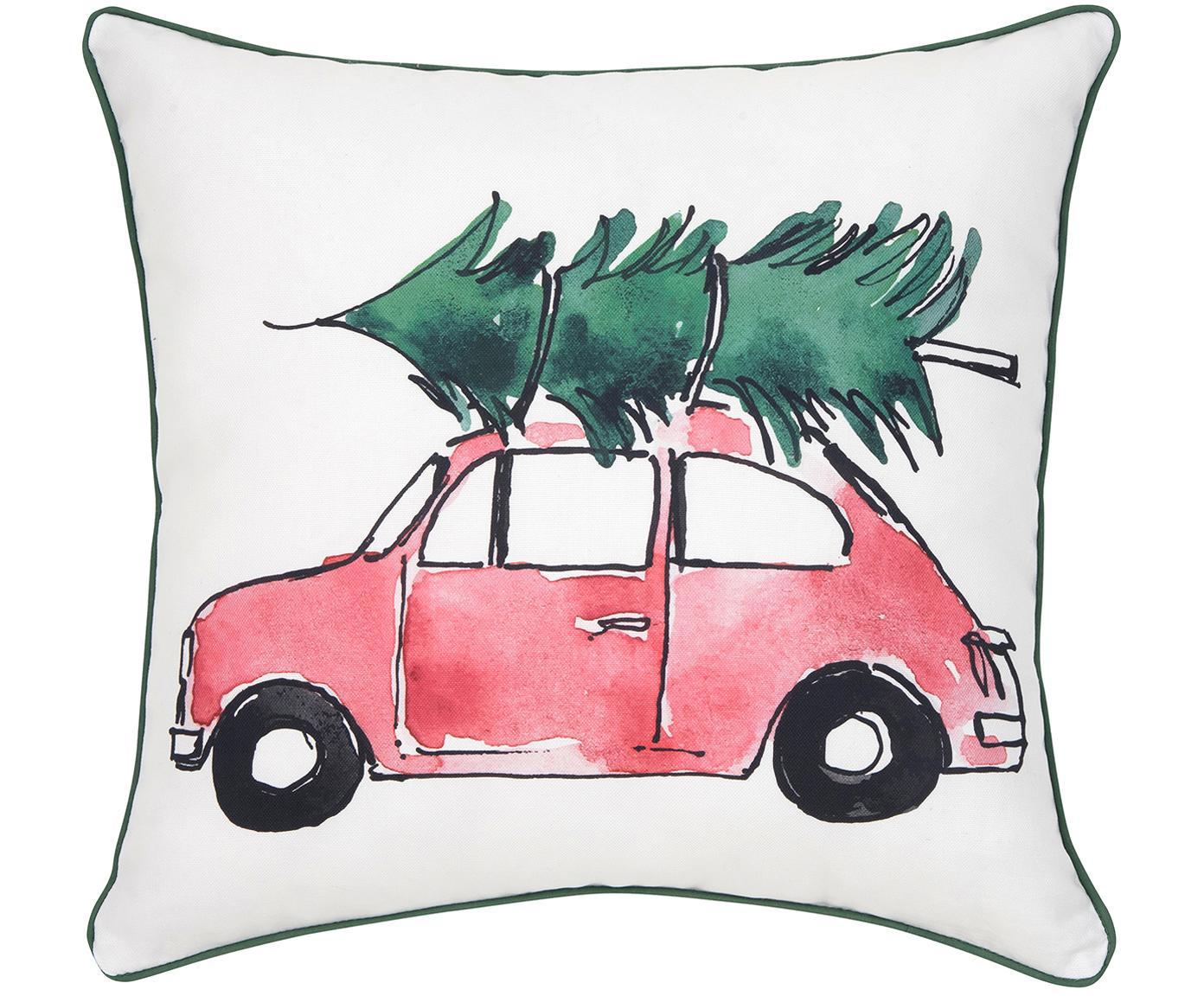 Poszewka na poduszkę Xmas Tree, 100% bawełna, Poduszka: wielobarwny Wykończenie brzegów: zielony, S 40 x D 40 cm