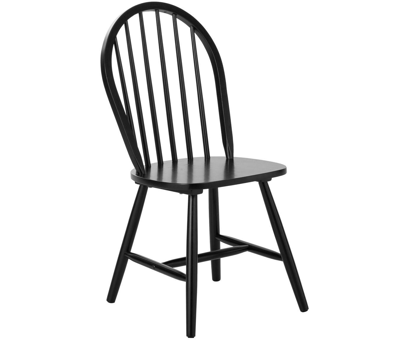 Sedia in legno in design windsor Jonas 2 pz, Legno di caucciù verniciato, Nero, Larg. 46 x Prof. 51 cm