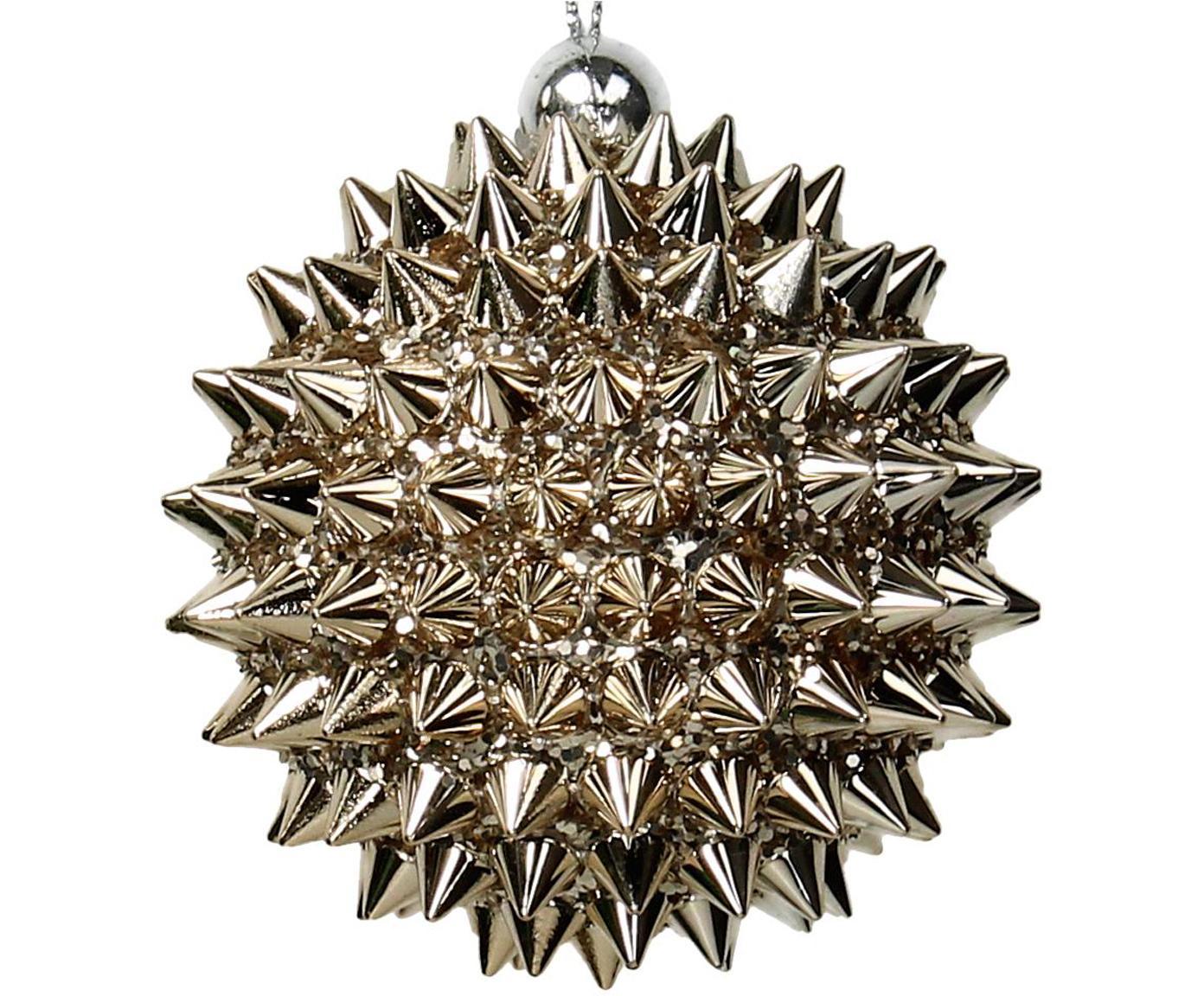 Weihnachtskugeln Igel, 2 Stück, Goldfarben, Ø 8 cm