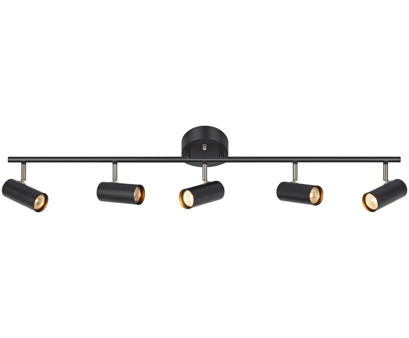 Faretti da soffitto Barcelona, Metallo rivestito, Nero, Larg. 105 x Alt. 20 cm