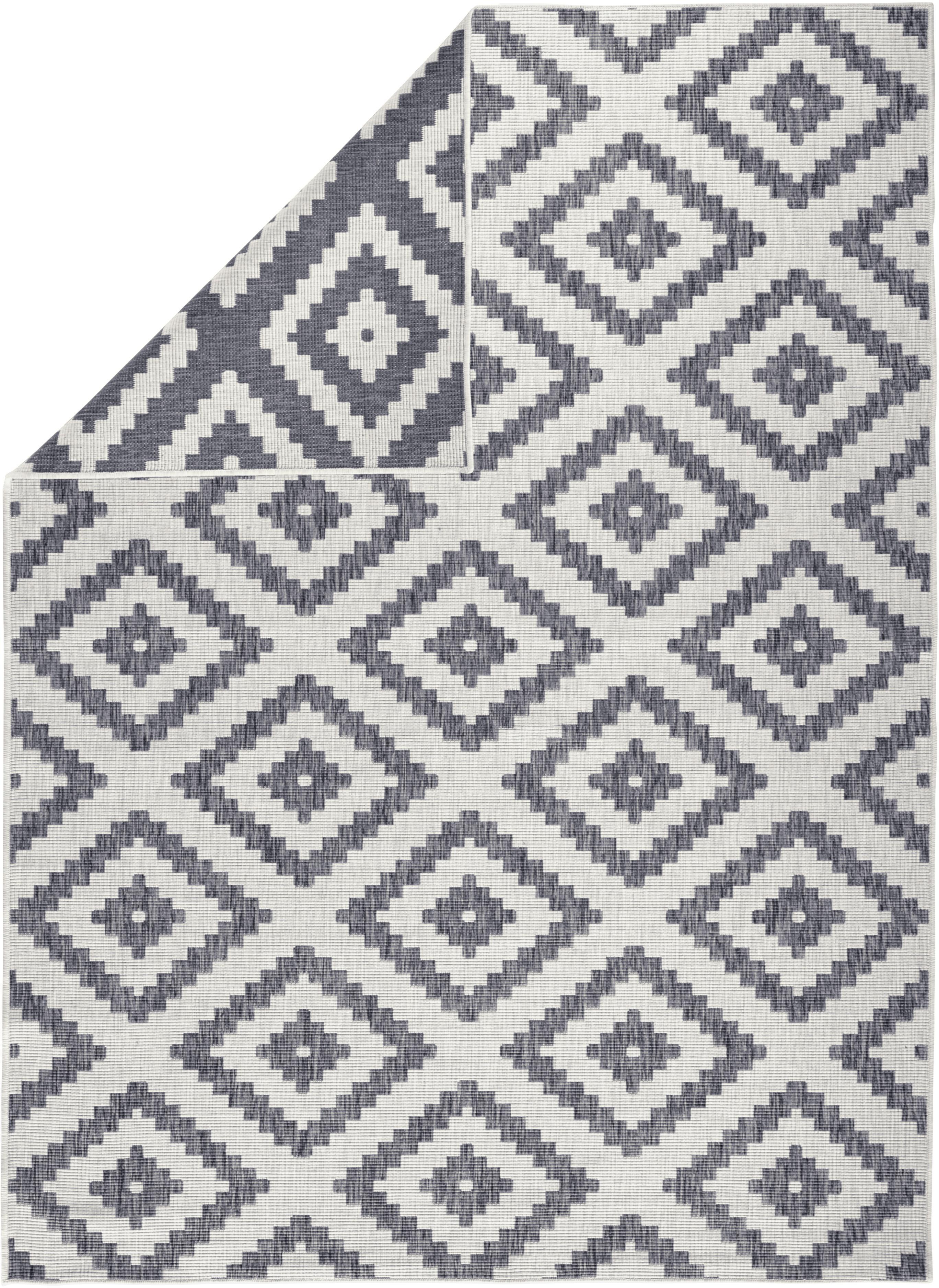 Alfombra redonda reversible de interior/exterior Malta, Gris, crema, An 160 x L 230 cm (Tamaño M)