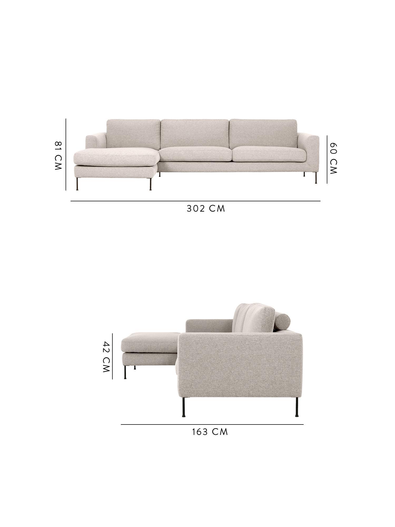 Hoekbank Cucita (4-zits), Bekleding: geweven stof (polyester), Frame: massief grenenhout, Poten: gelakt metaal, Geweven stof beige, B 302 x D 163 cm