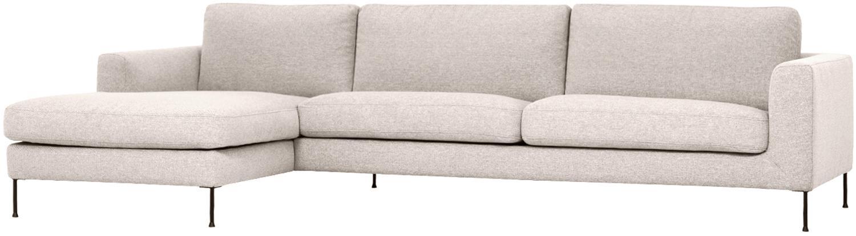 Ecksofa Cucita (4-Sitzer), Bezug: Webstoff (Polyester) Der , Gestell: Massives Kiefernholz, Füße: Metall, lackiert, Webstoff Beige, B 302 x T 163 cm