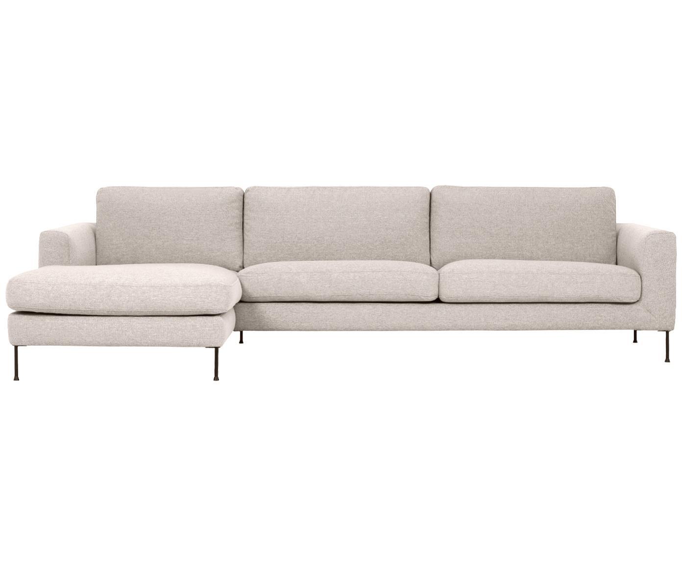 Sofa narożna Cucita (4-osobowa), Tapicerka: tkanina (poliester) Tkani, Stelaż: lite drewno sosnowe, Nogi: metal malowany proszkowo, Beżowy, S 302 x G 163 cm
