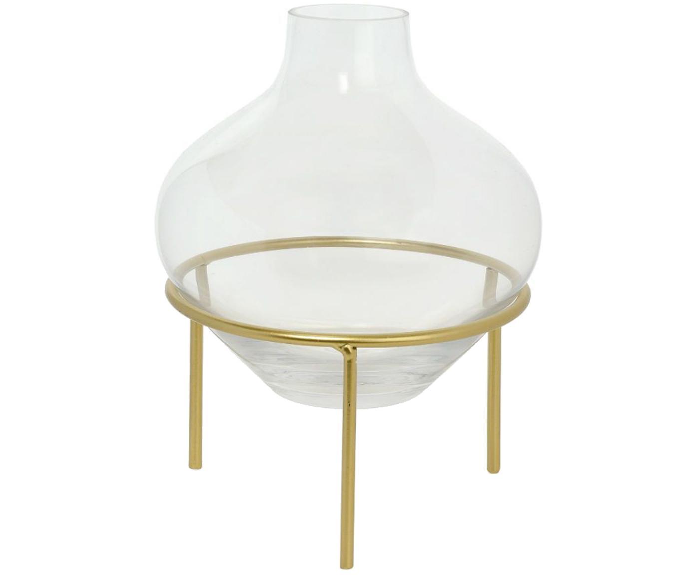 Jarrón pequeño con base Mikel, Jarrón: vidrio, Estructura: metal, pintado, Latón, Ø 21 x Al 26 cm
