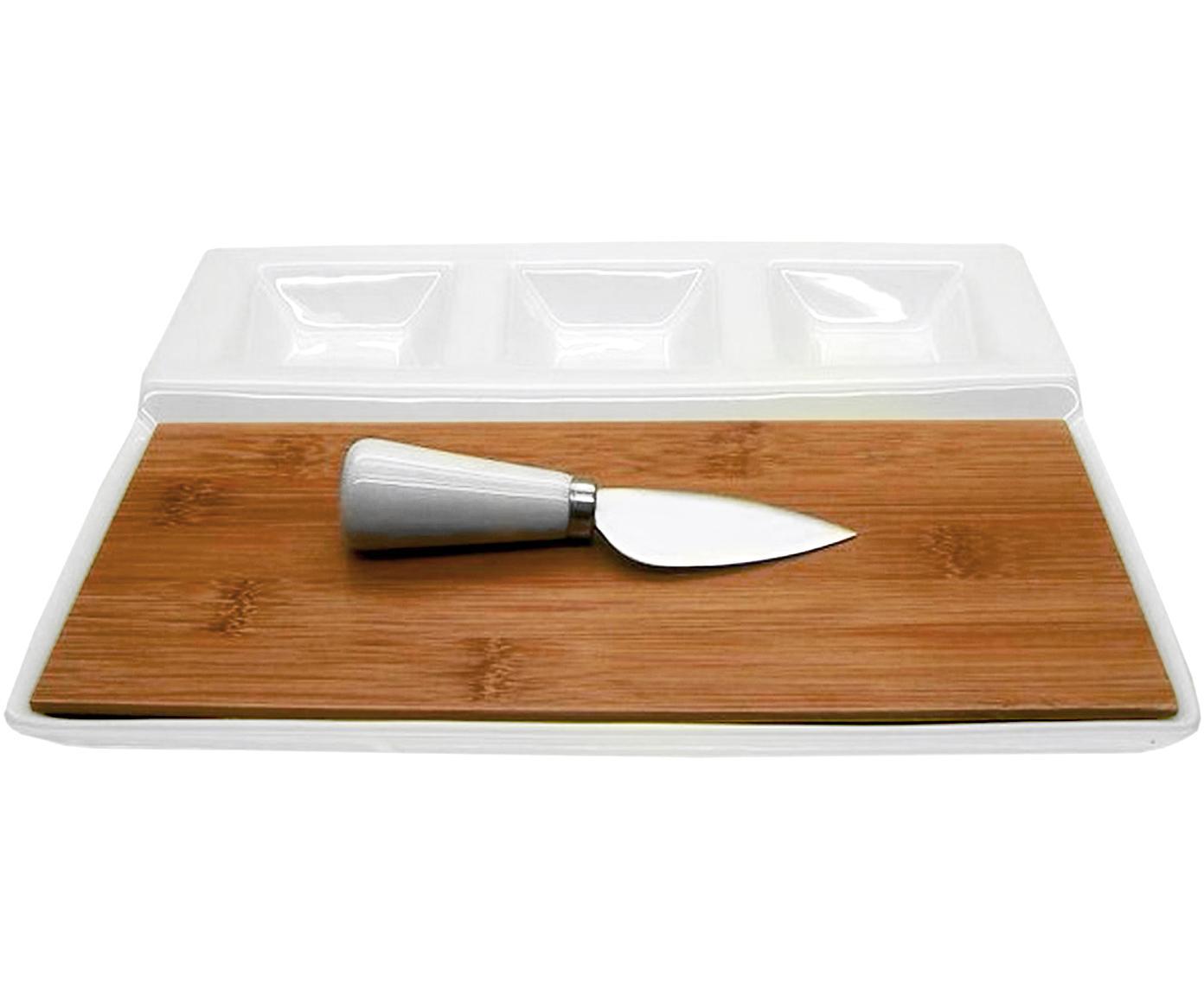 Set tabla de queso Alfons, 2pzas., Cuencos: porcelana, Blanco, beige, Tamaños diferentes