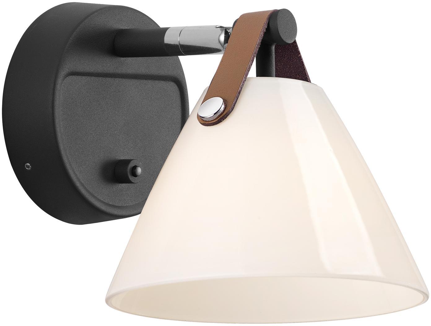 Wandleuchte Strap mit austauschbarem Lederband, Lampenschirm: Opalglas, Schwarz, 17 x 17 cm