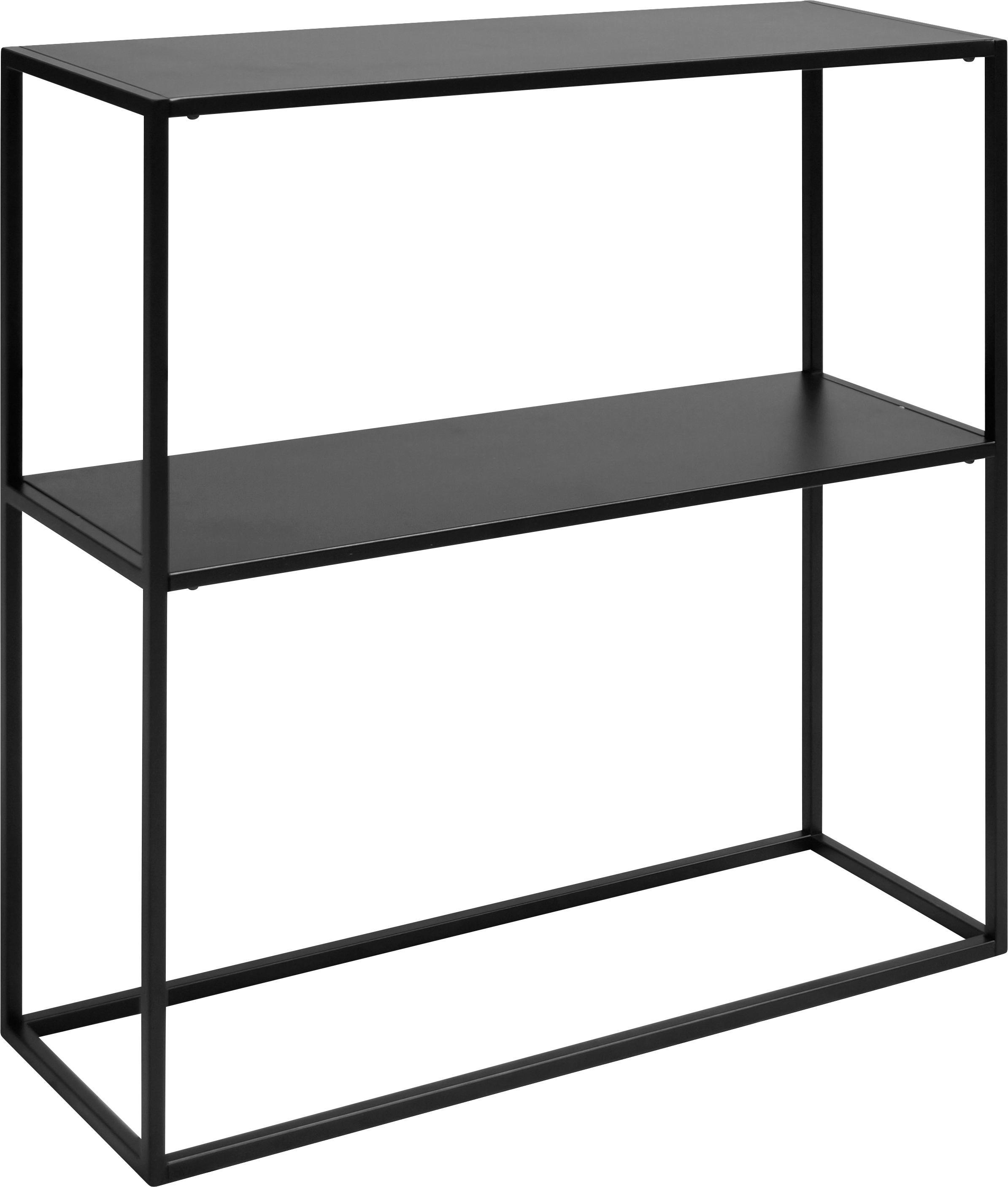Metalen wandrek Newton in zwart, Gepoedercoat metaal, Zwart, B 80 x D 26 cm