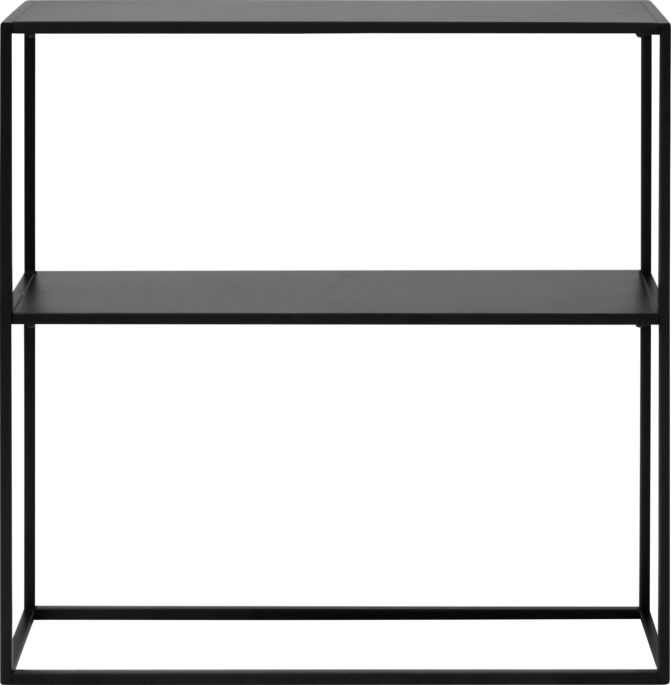 Metall-Regal Newton in Schwarz, Metall, pulverbeschichtet, Schwarz, 80 x 80 cm