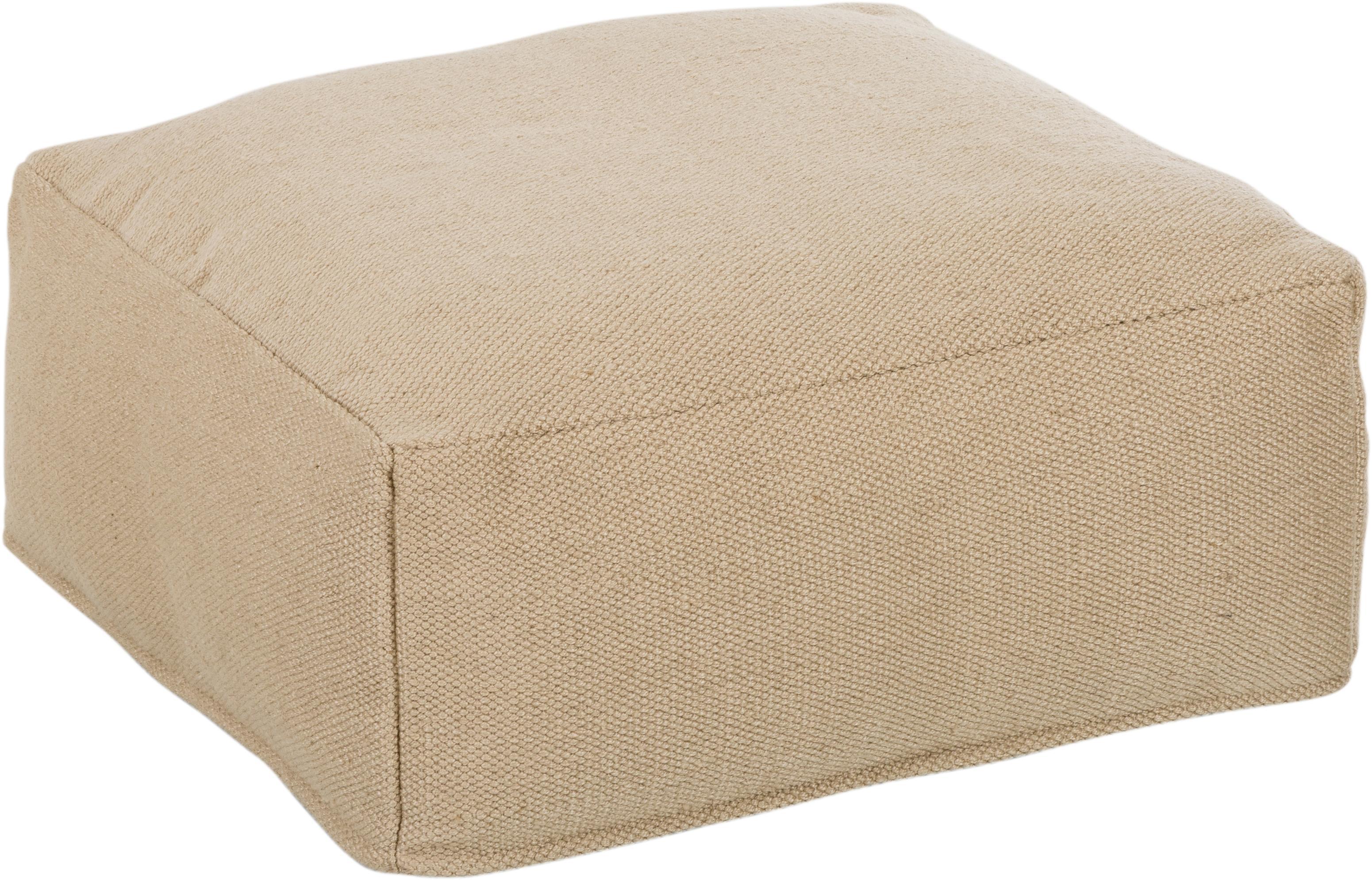 Poduszka podłogowa wewnętrzna/zewnętrzna Khela, Tapicerka: 100% poliester pochodzący, Beżowy, S 60 x W 25 cm