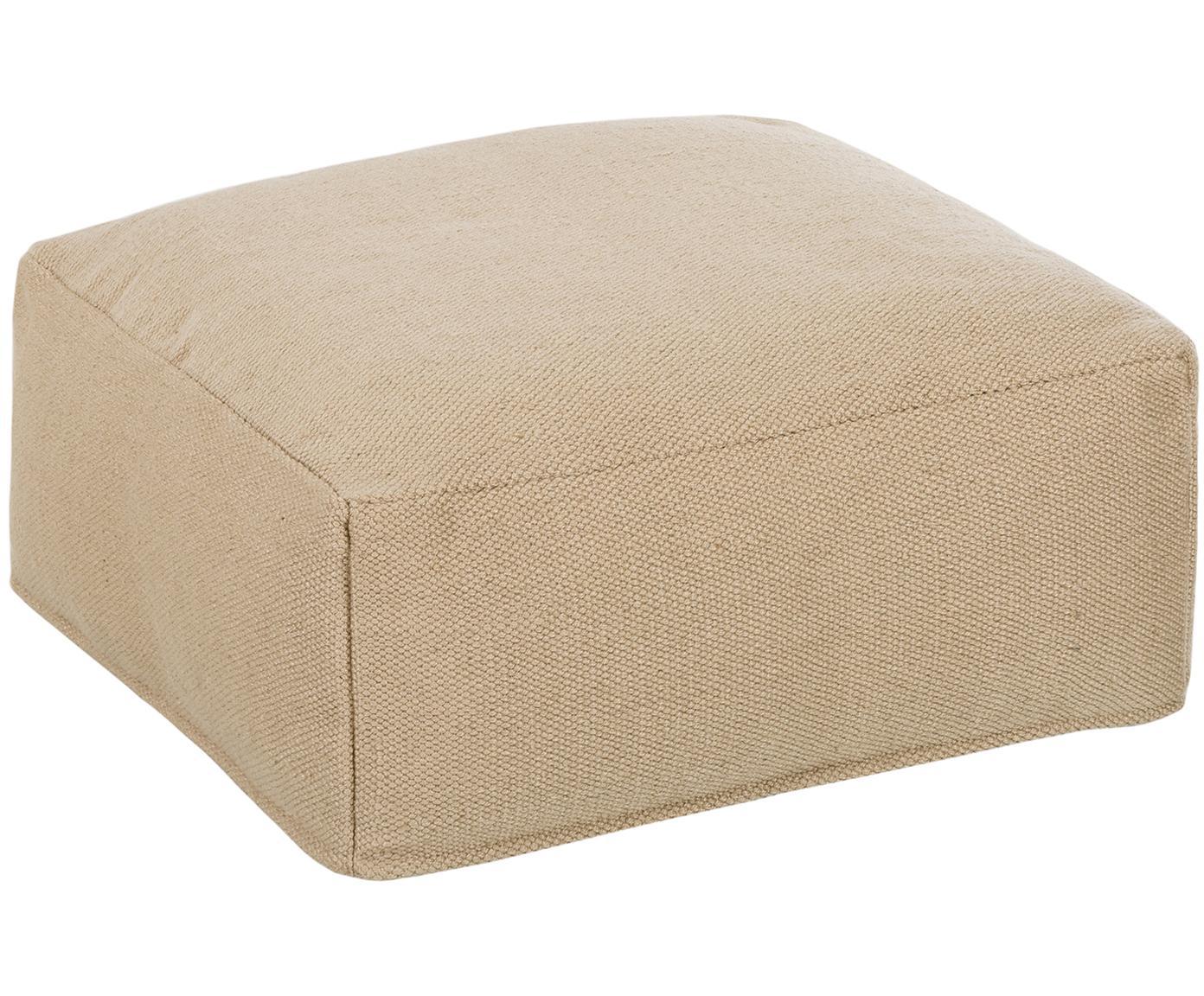 Cuscino da pavimento da interno-esterno Khela, Rivestimento: poliestere riciclato, Beige, Larg. 60 x Alt. 25 cm