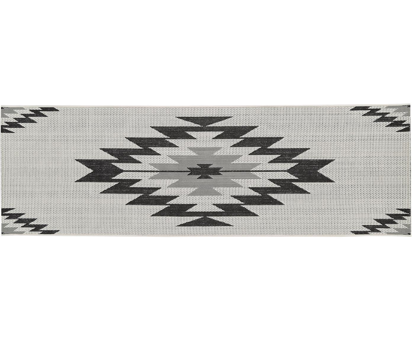 In- & outdoor loper Ikat, Bovenzijde: polypropyleen, Onderzijde: polyester, Crèmewit, zwart, grijs, 80 x 250 cm