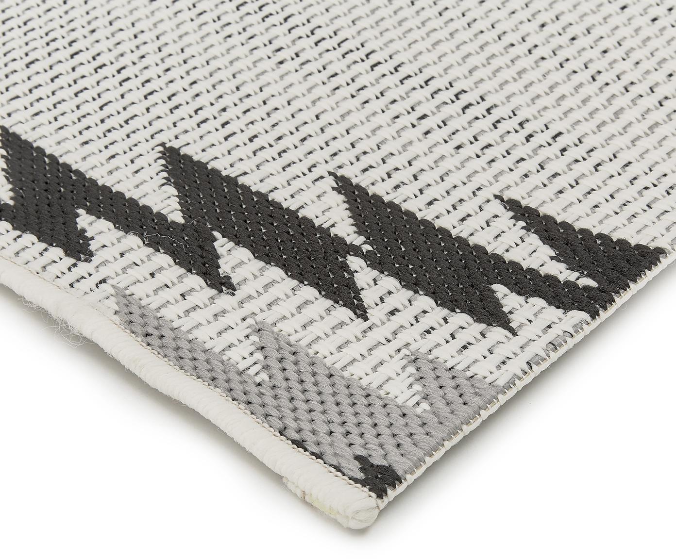 Alfombra de interior/exterior Ikat, Parte superior: polipropileno, Reverso: poliéster, Blanco, negro, gris, An 80 x L 250 cm