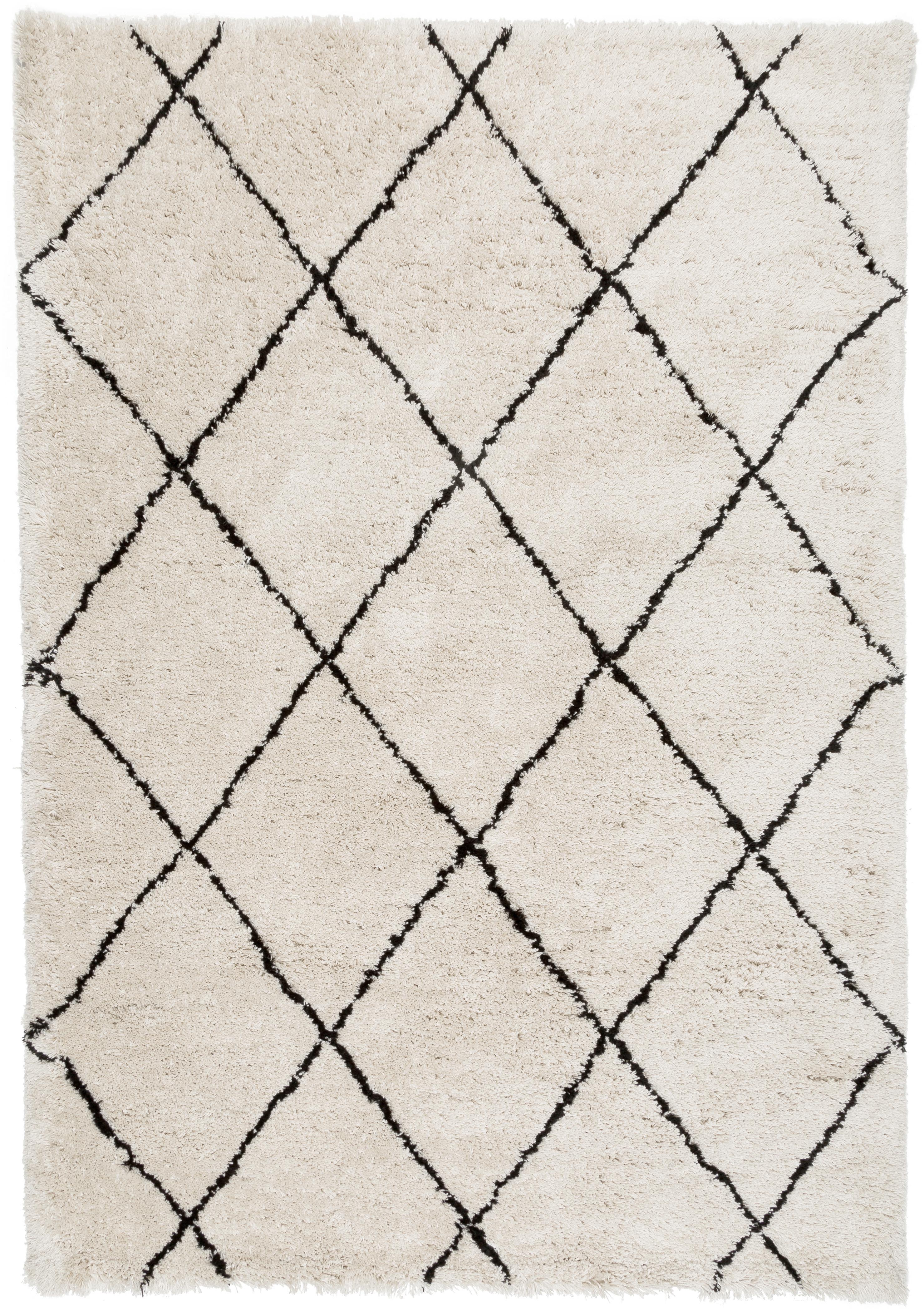 Flauschiger Hochflor-Teppich Naima, handgetuftet, Flor: 100% Polyester, Beige, Schwarz, B 160 x L 230 cm (Grösse M)