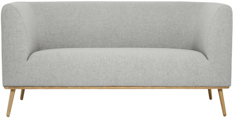 Bank Archie (2-zits), Bekleding: 100% wol, Frame: grenenhout, Poten: geolied massief eikenhout, Bekleding: lichtgrijs,  Poten: eikenhout, 162 x 80 cm