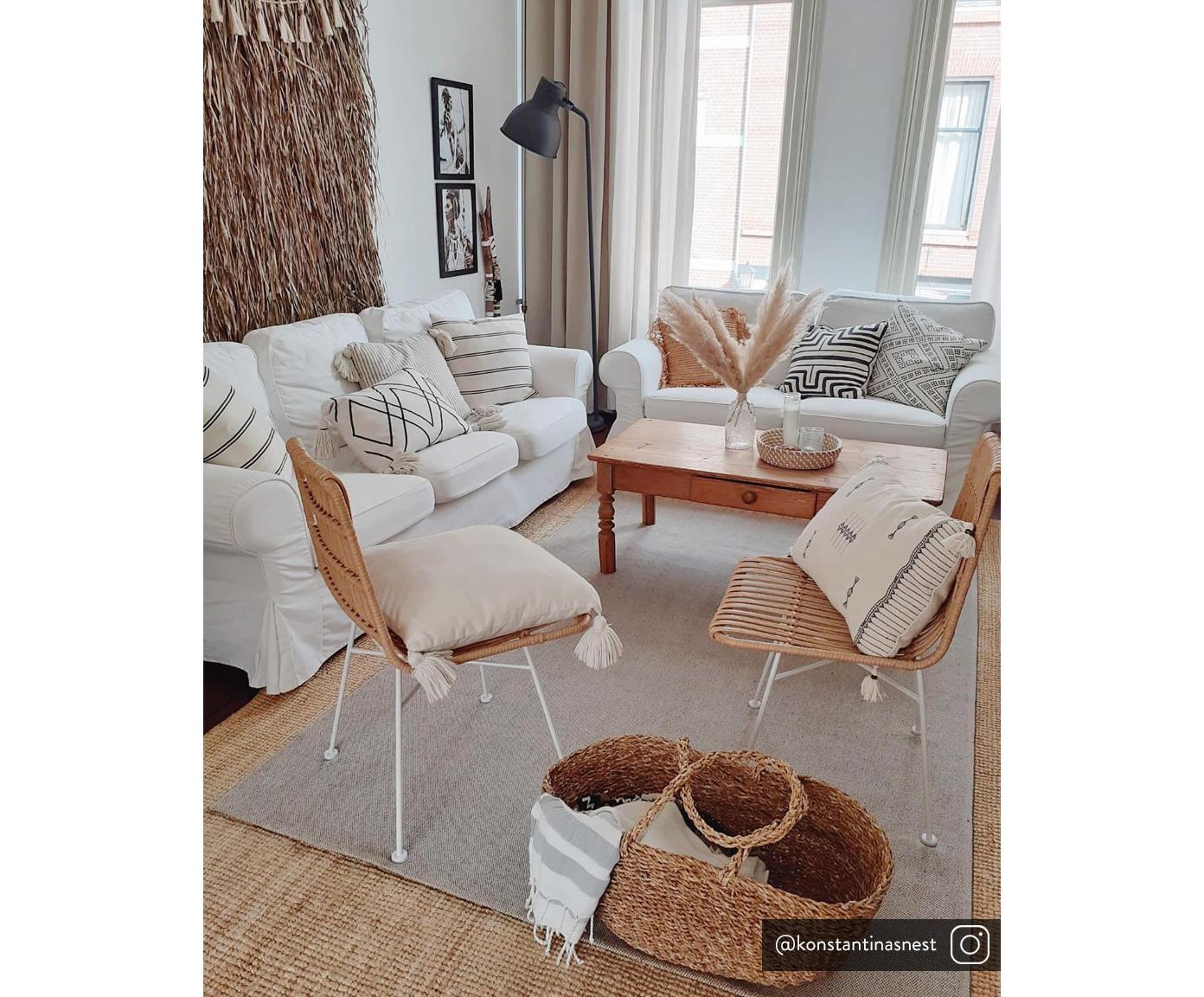 Polyrotan stoelen Costa, 2 stuks, Zitvlak: polyethyleen-vlechtwerk, Frame: gepoedercoat metaal, Zitvlak: lichtbruin, gevlekt. Frame: mat wit, B 47  x D 62 cm