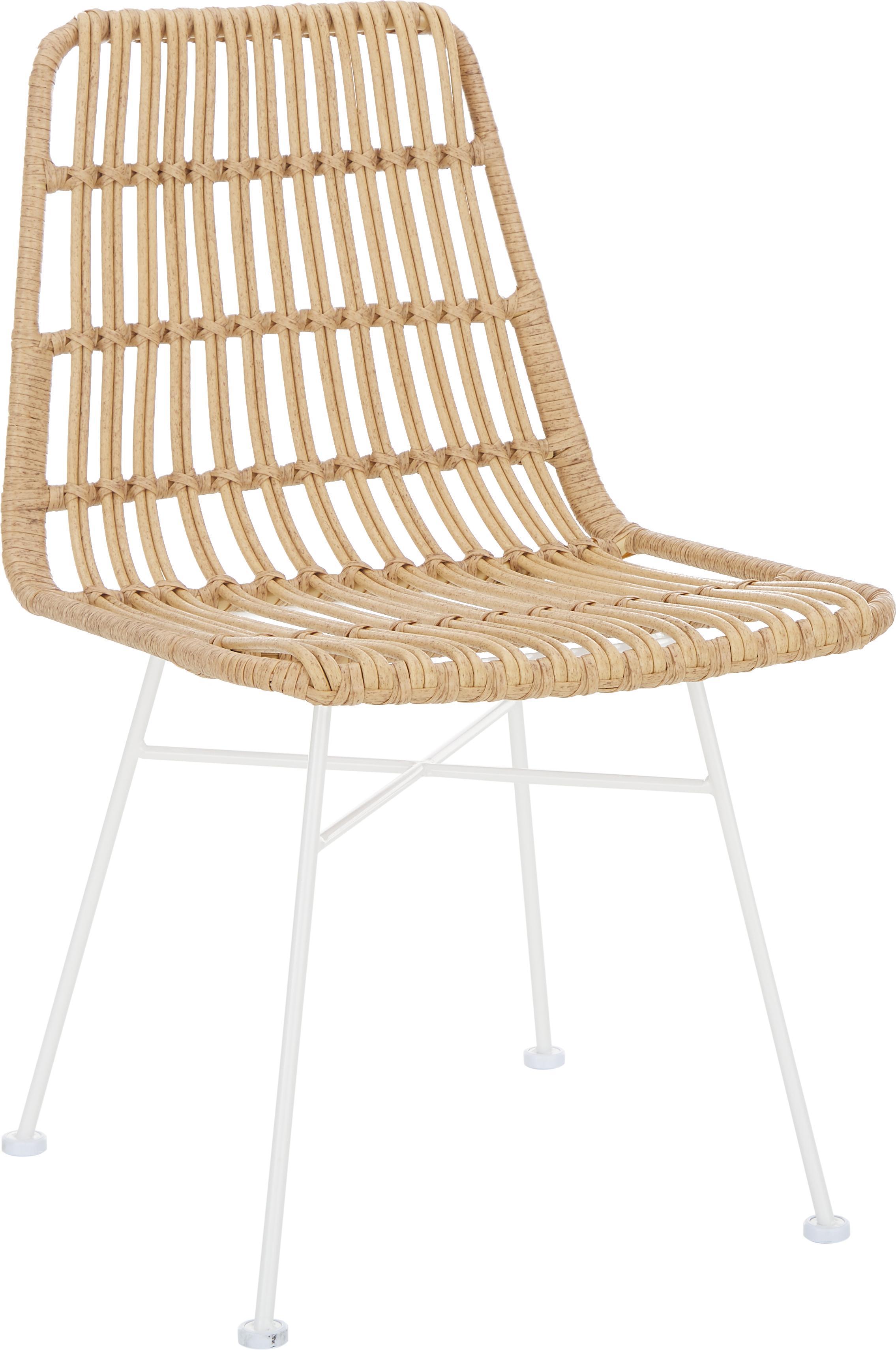 Sillas de poliratán Tulum, 2uds., Asiento: polietileno, Estructura: metal con pintura en polv, Beige, patas blanco, An 47 x F 61 cm