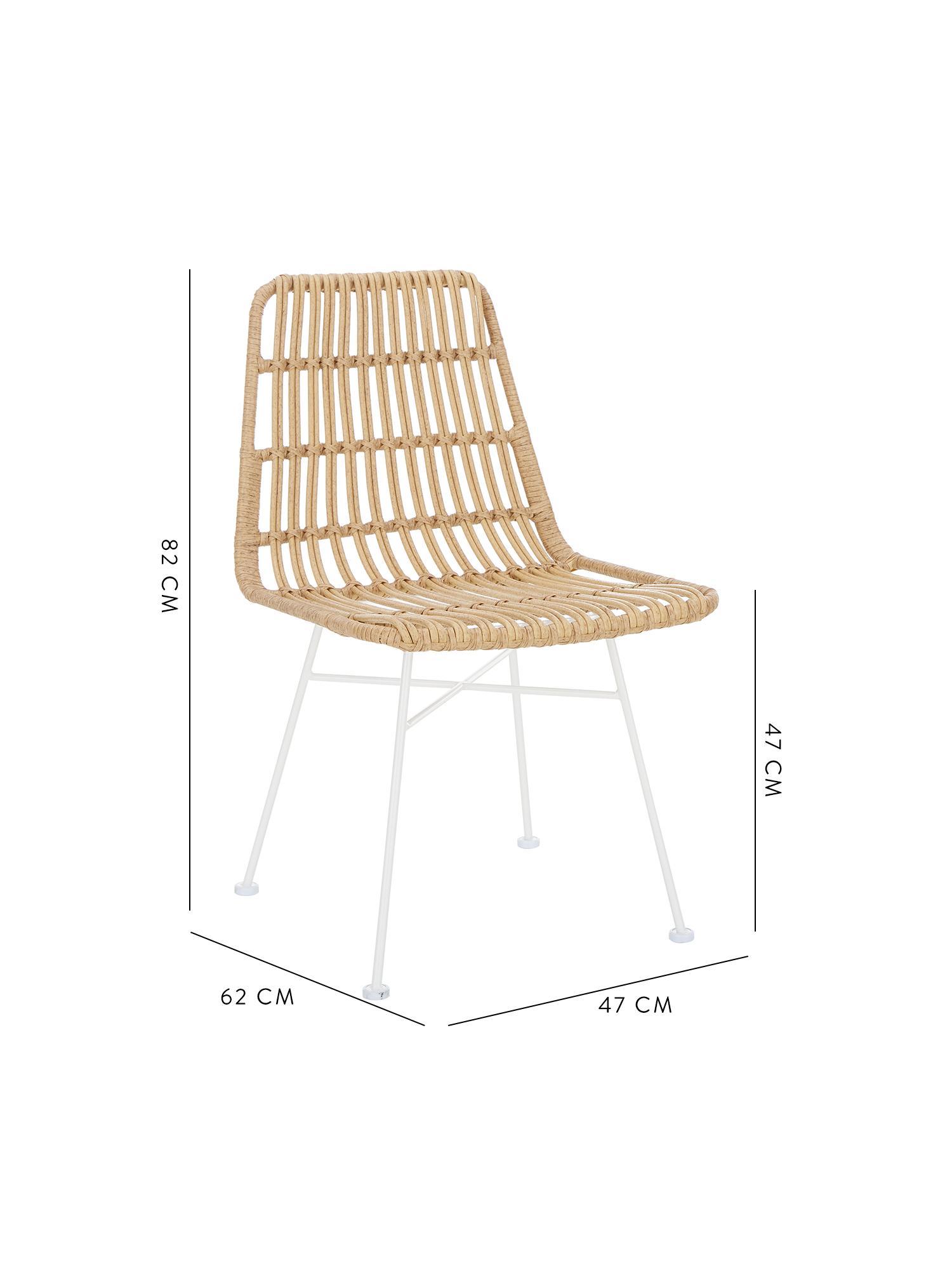 Polyrotan stoelen Costa, 2 stuks, Zitvlak: polyethyleen-vlechtwerk, Frame: gepoedercoat metaal, Zitvlak: lichtbruin, gevlekt. Frame: mat wit, B 47 x D 61 cm