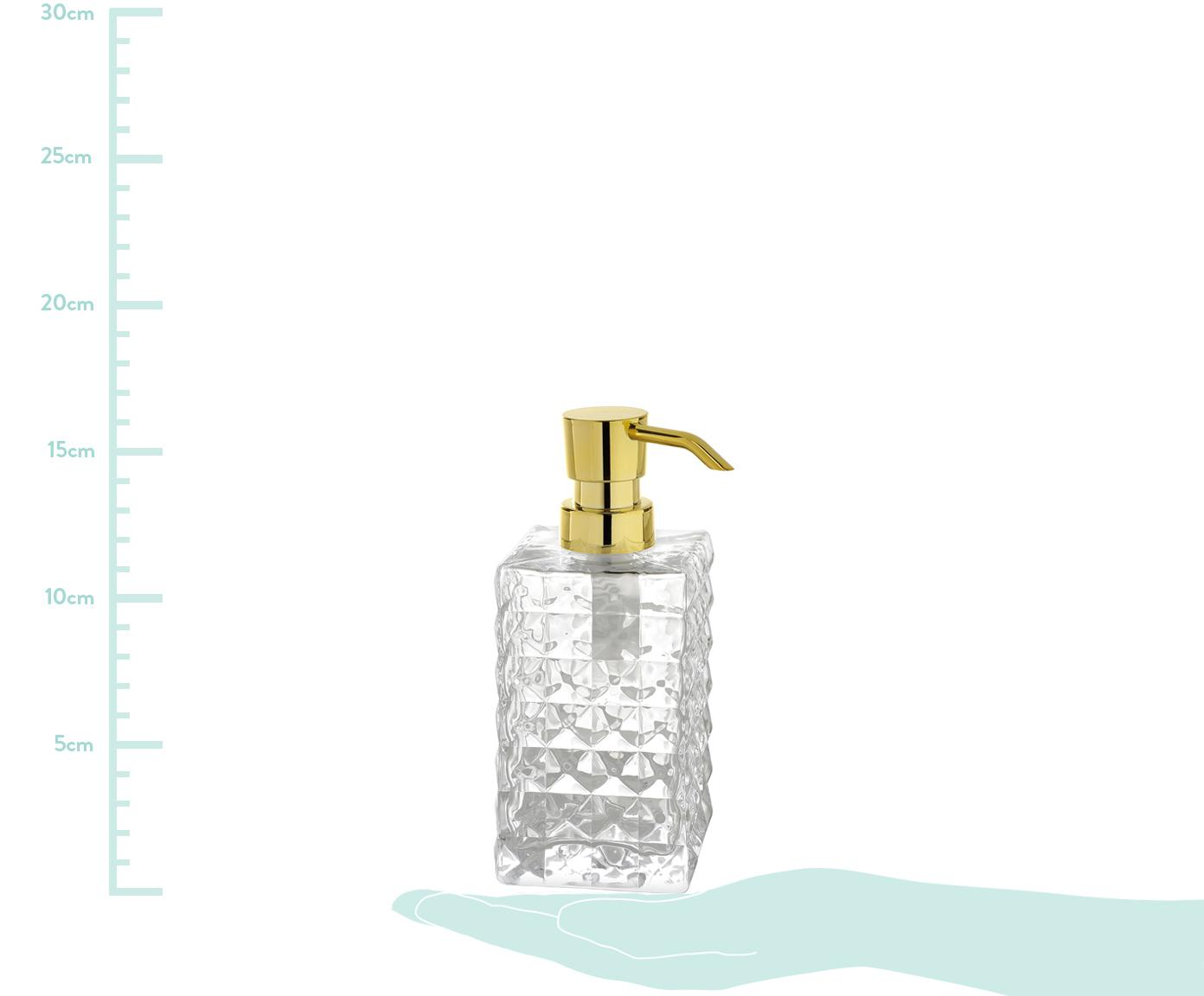 Dozownik do mydła ze szkła Dots, Transparentny, S 7 x W 16 cm