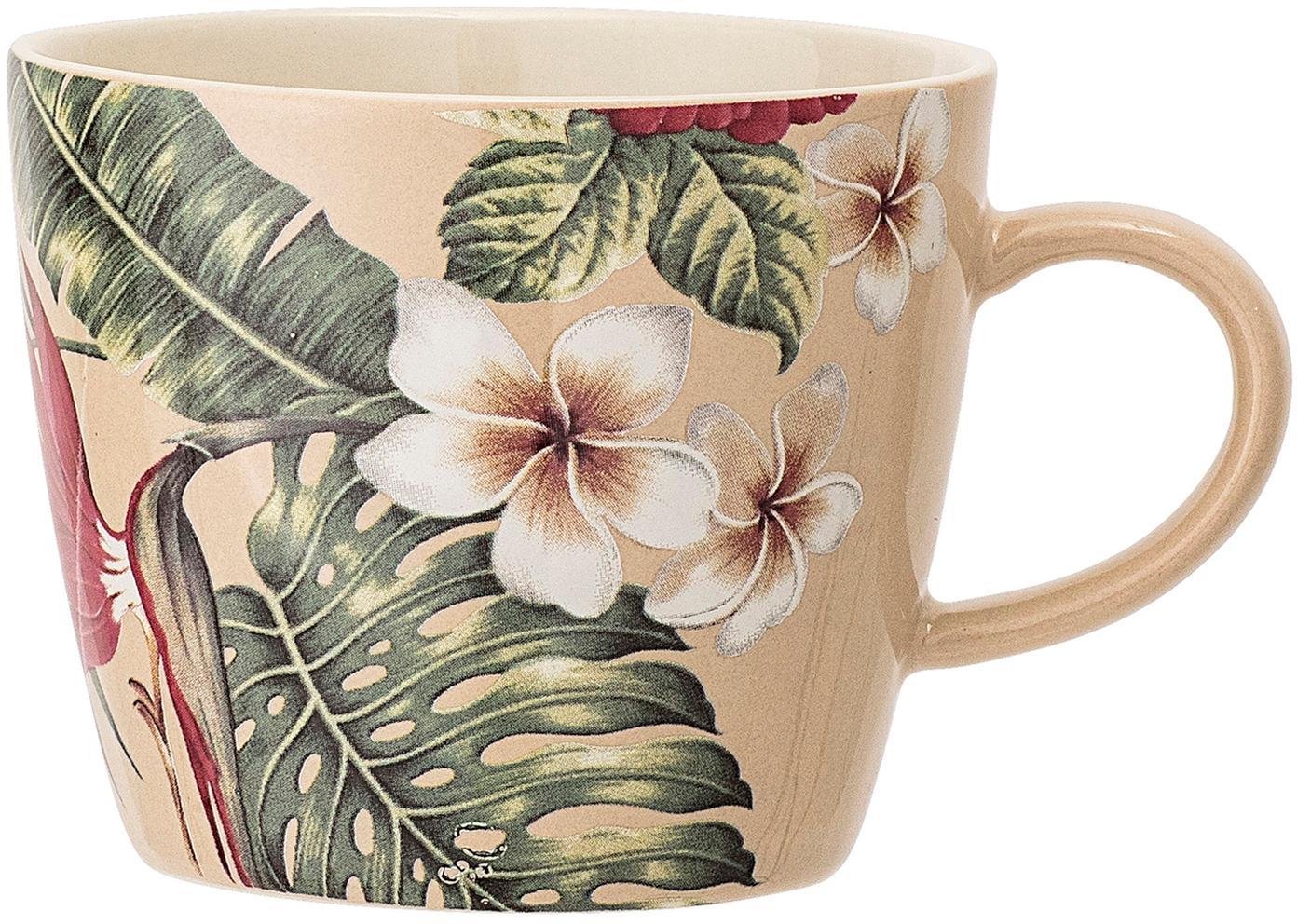 Kaffeetassen Aruba mit tropischem Motiv, 2 Stück, Steingut, Cremeweiss, Grün, Rot, Ø 10 x H 8 cm