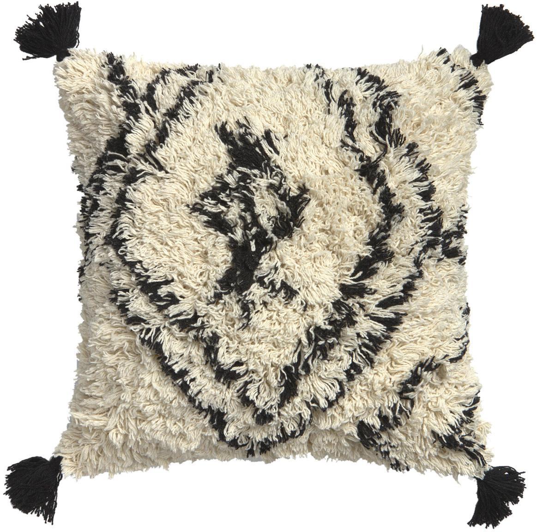 Funda de cojín con borlas Safro, 100%algodón, Negro, crema, An 45 x L 45 cm