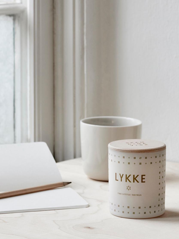Duftkerze Lykke (Zitrus & Apfel-Minze), Behälter: Glas, Deckel: Buchenholz, Weiß, Ø 4 x H 6 cm
