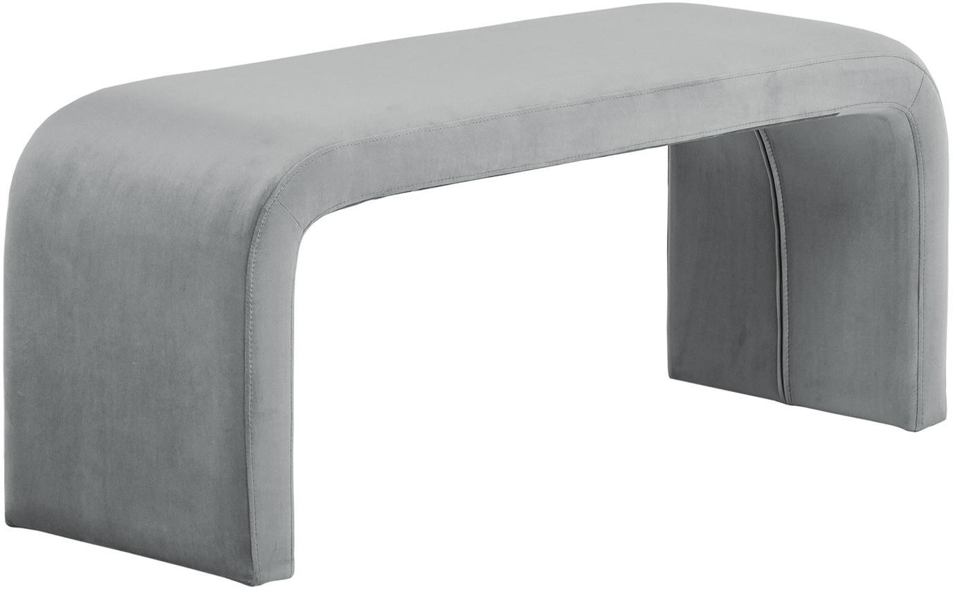 Banco de terciopelo Penelope, estilo moderno, Tapizado: terciopelo (poliéster) 25, Estructura: metal, aglomerado, Gris, An 110 x Al 45 cm