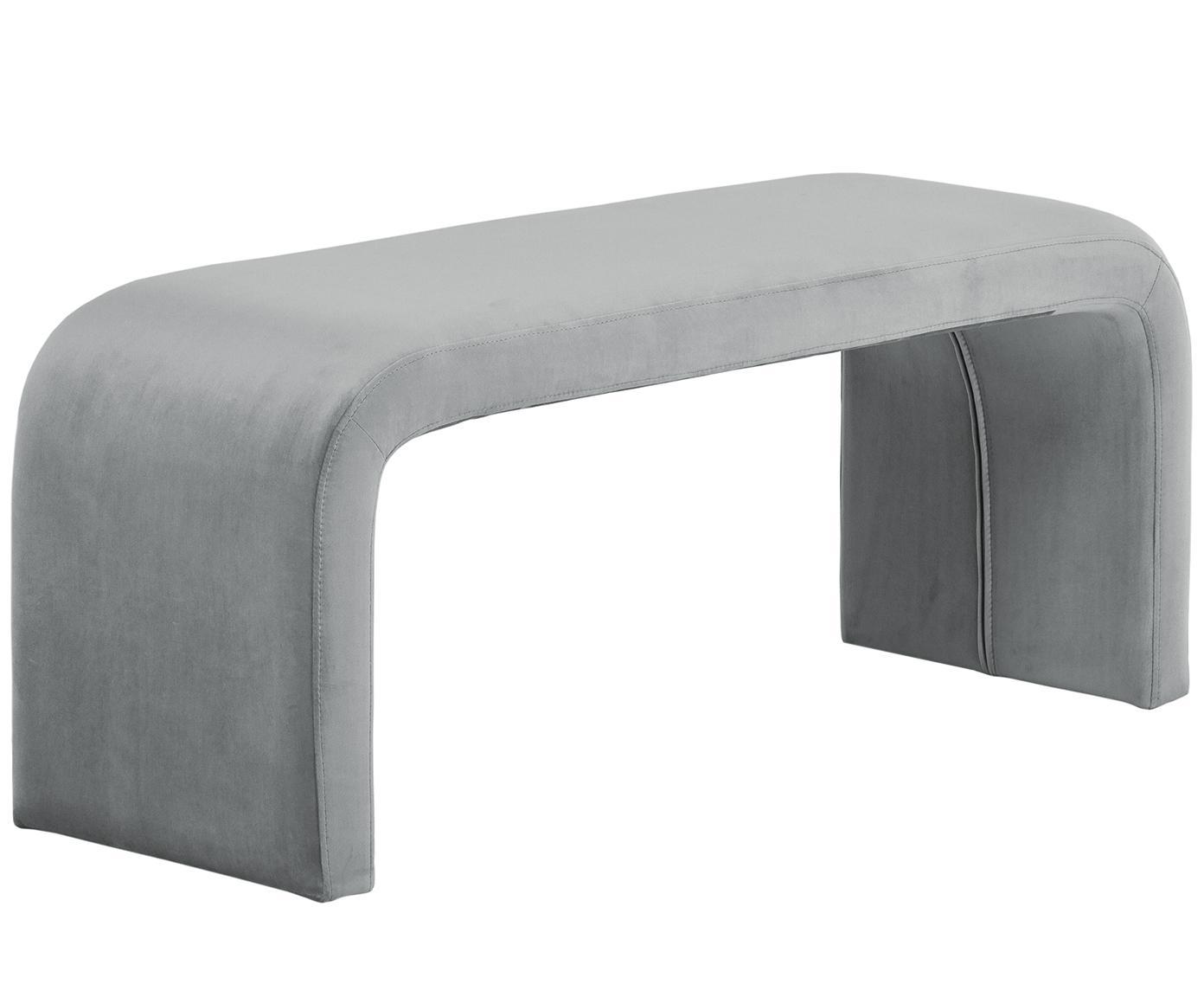 Moderne fluwelen bank Penelope, Bekleding: fluweel (polyester), Frame: metaal, spaanplaat, Grijs, 110 x 45 cm
