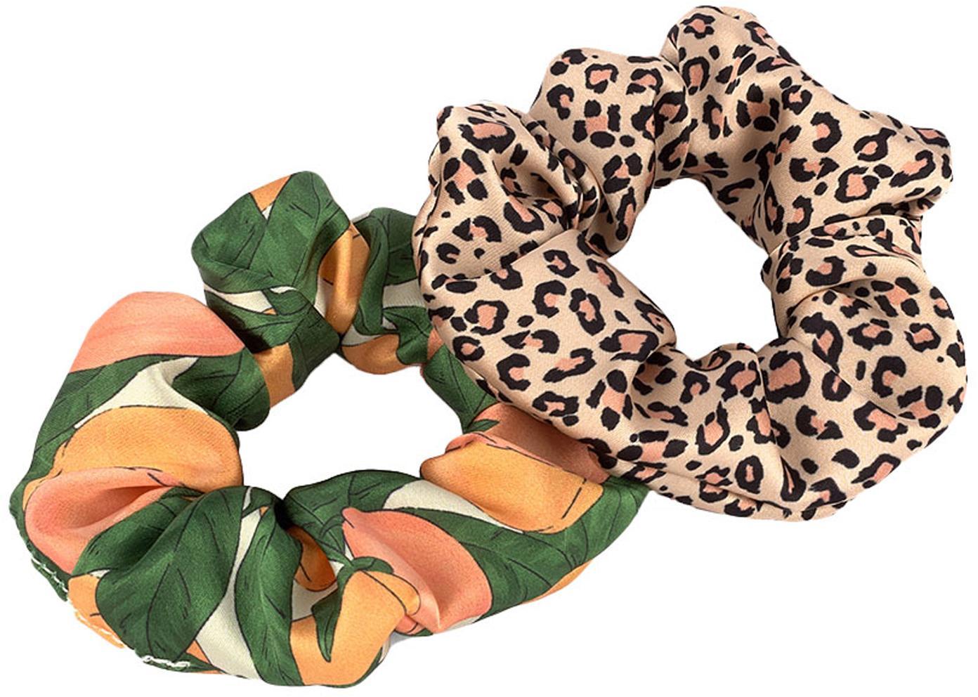 Scrunchie-Set Pink Savanna & Peach, 2-tlg., Webart: Satin, Mehrfarbig, Ø 8 cm