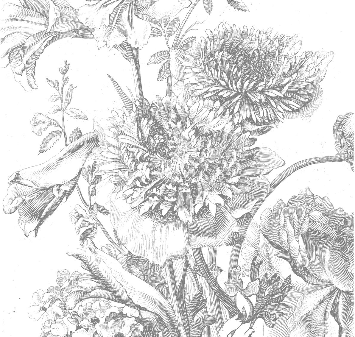 Fototapeta Engraved Flowers, Włóknina, przyjazna dla środowiska, biodegradowalna, Szary, biały, S 292 x W 280 cm