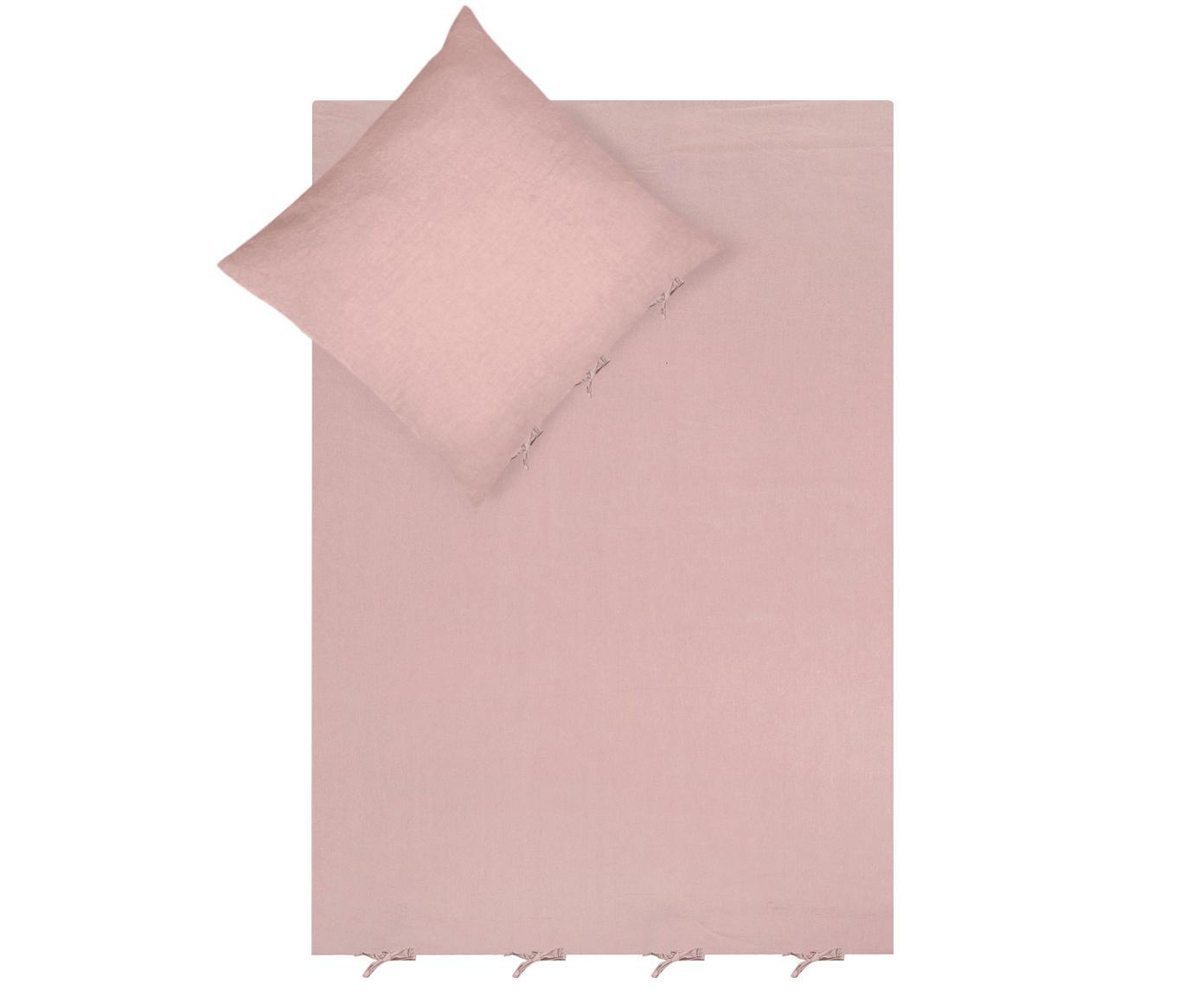 Pościel z lnu Maria, 52% len, 48% bawełna Z efektem sprania zapewniającym miękkość w dotyku, Blady różowy, 155 x 220 cm