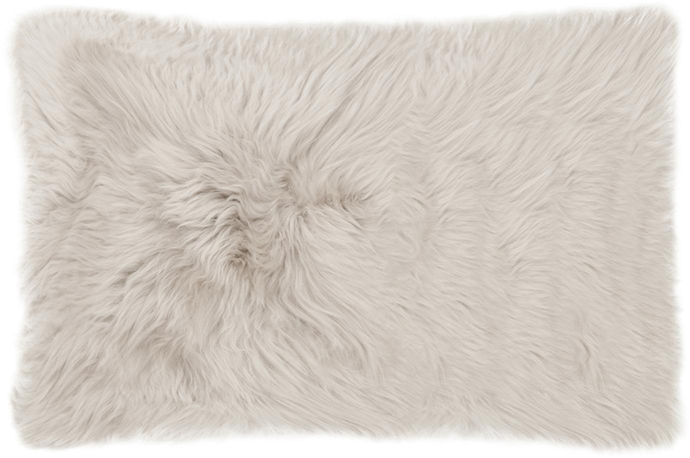 Funda de cojín de piel de oveja Oslo, Parte delantera: piel de oveja, Parte trasera: lino, Beige, gris claro, An 30 x L 50 cm