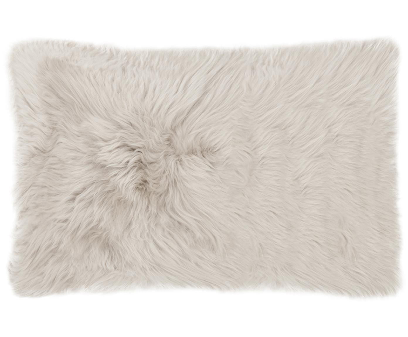 Kussenhoes van schapenvacht Oslo, glad, Voorzijde: beige. Achterzijde: lichtgrijs, 30 x 50 cm