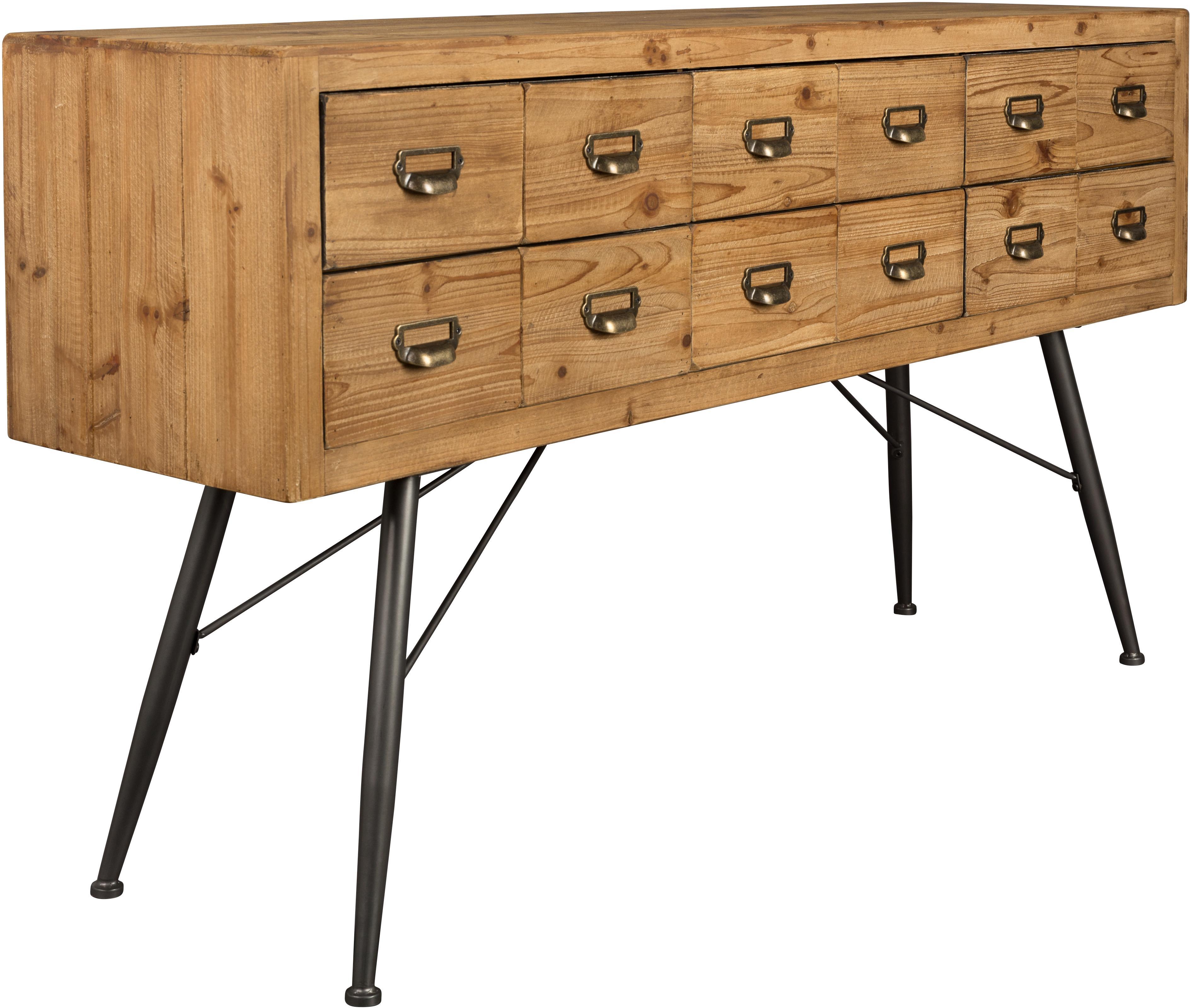 Apotheker dressoir Six met lades, Poten: gelakt ijzer, Handvatten: ijzer, antieke afwerking, Dennenhoutkleurig, antraciet, B 150 cm