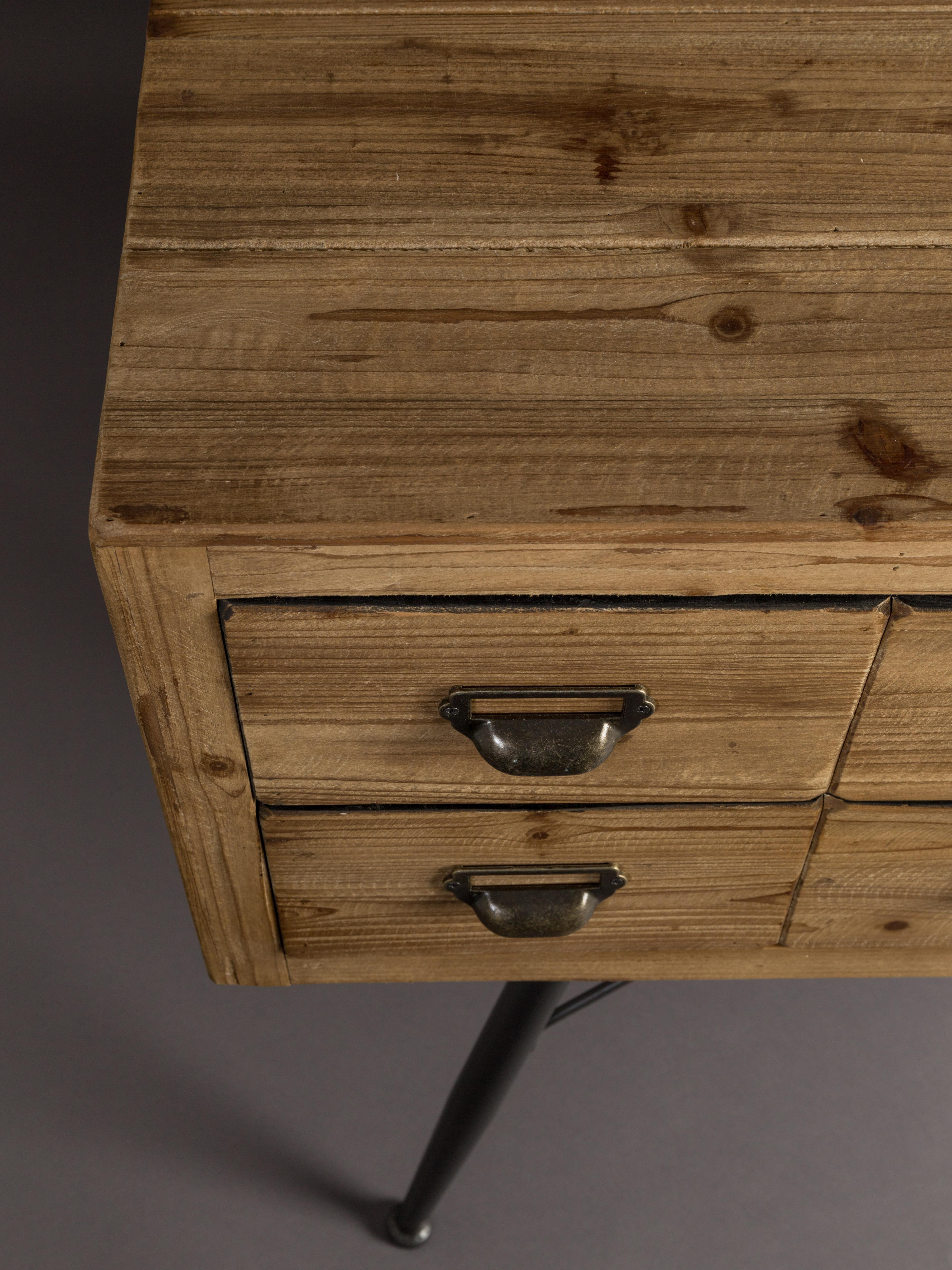 Apotheker-Sideboard Six mit Schubladen, Korpus und Schubladenfronten: Tannenholz, Antik-Finish, Beine: Eisen, lackiert, Griffe: Eisen, Antik-Finish, Tannenholz, Anthrazit, 150 x 84 cm
