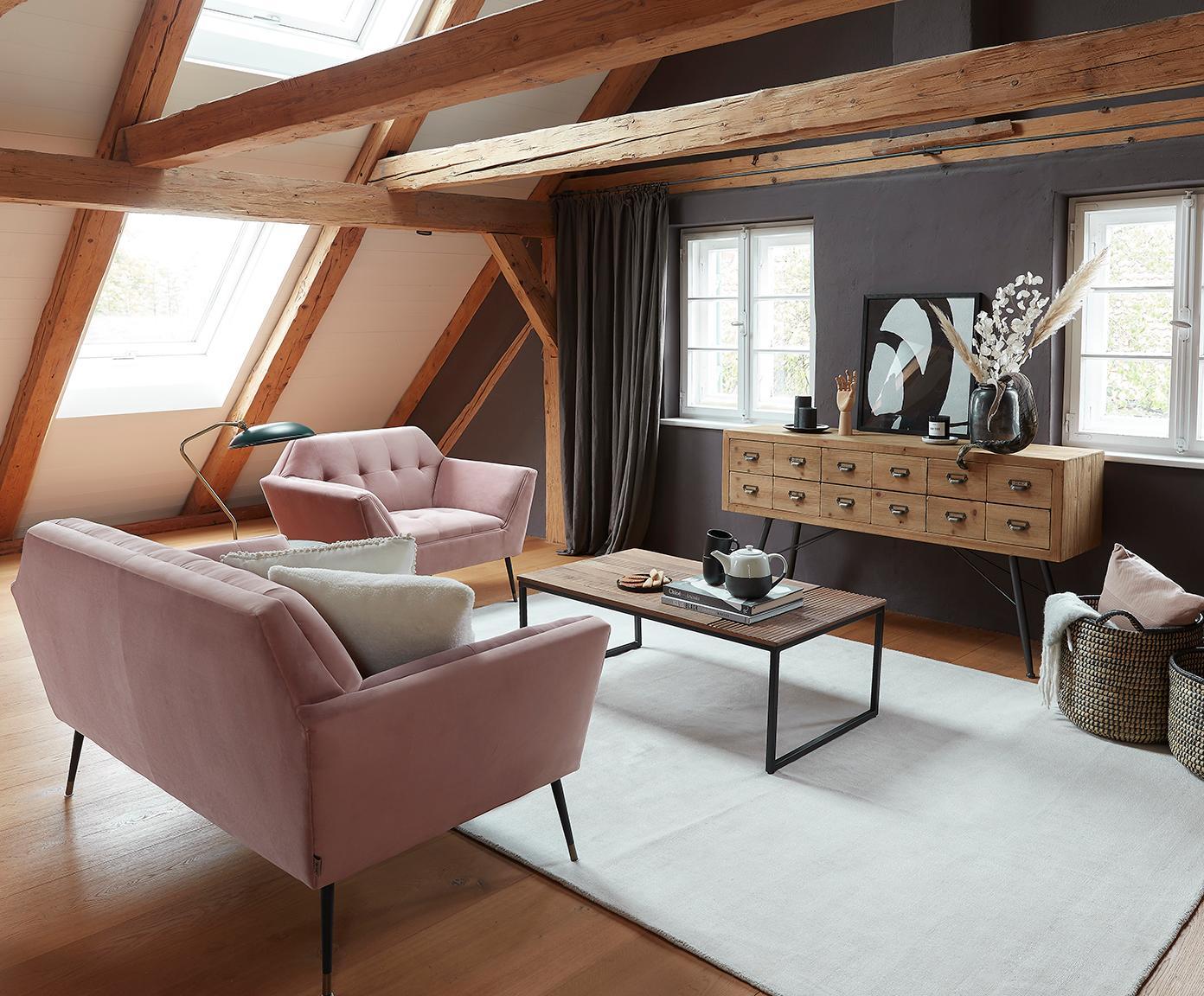 Komoda z 6 szufladami Six, Nogi: żeliwo lakierowane, Drewno jodłowe, antracytowy, S 150 x W 84 cm