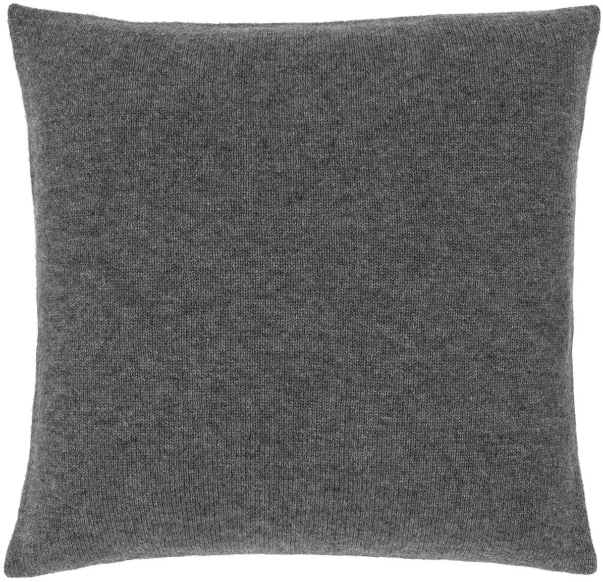 Federa arredo in maglia fine di cashmere Viviana, 70% cashmere, 30% lana merino, Grigio scuro, Larg. 40 x Lung. 40 cm
