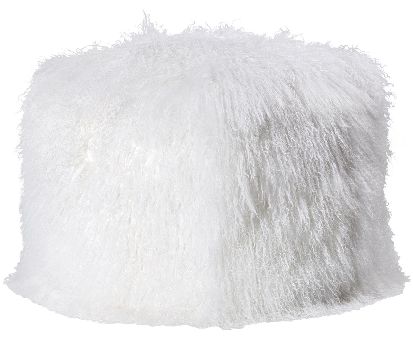 Pouf in pelliccia di agnello Cube, Rivestimento: agnello tibetano, Bianco, Larg. 60 x Alt. 40 cm